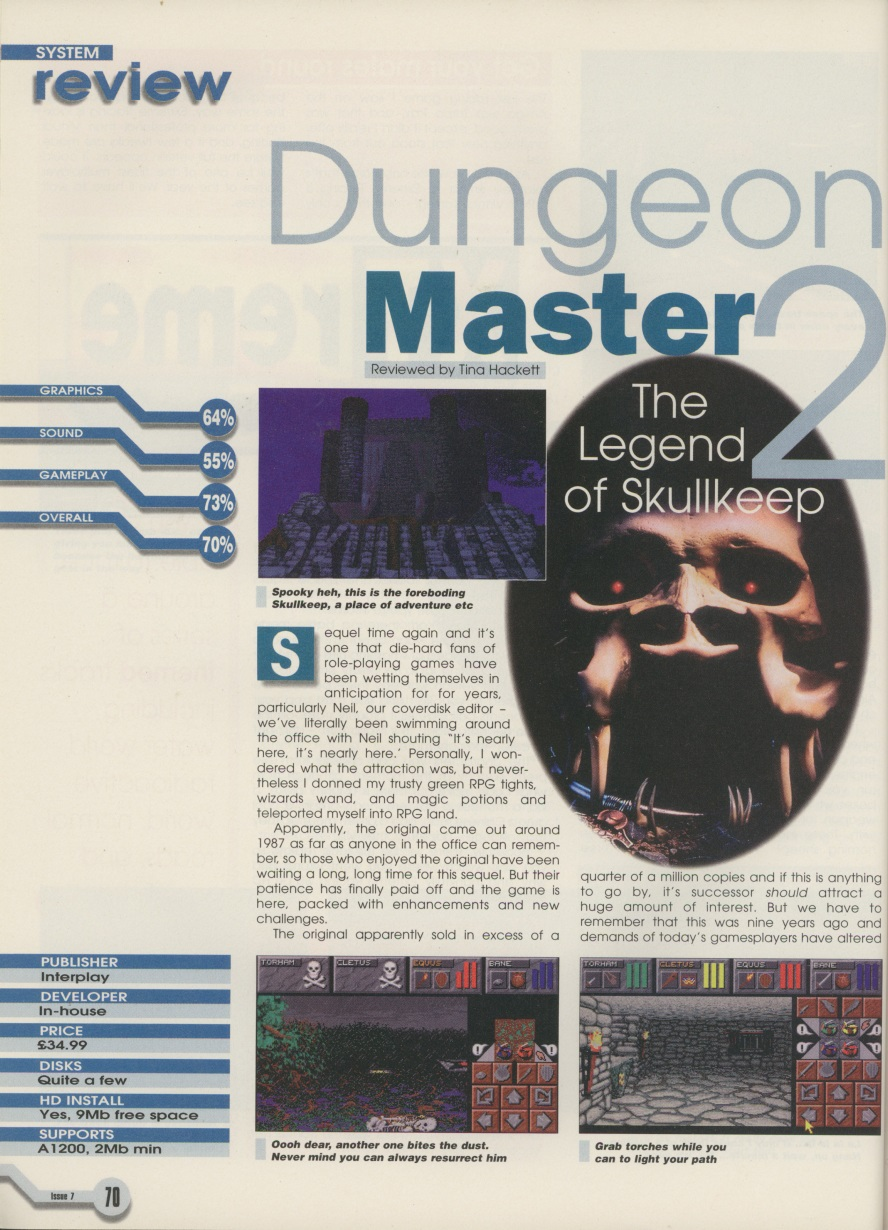 Dungeon Master II for Amiga Review published in American magazine 'Amiga Computing', Issue #7 February 1996, Page 70