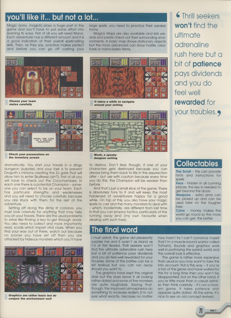 Dungeon Master II for Amiga Review published in American magazine 'Amiga Computing', Issue #7 February 1996, Page 71