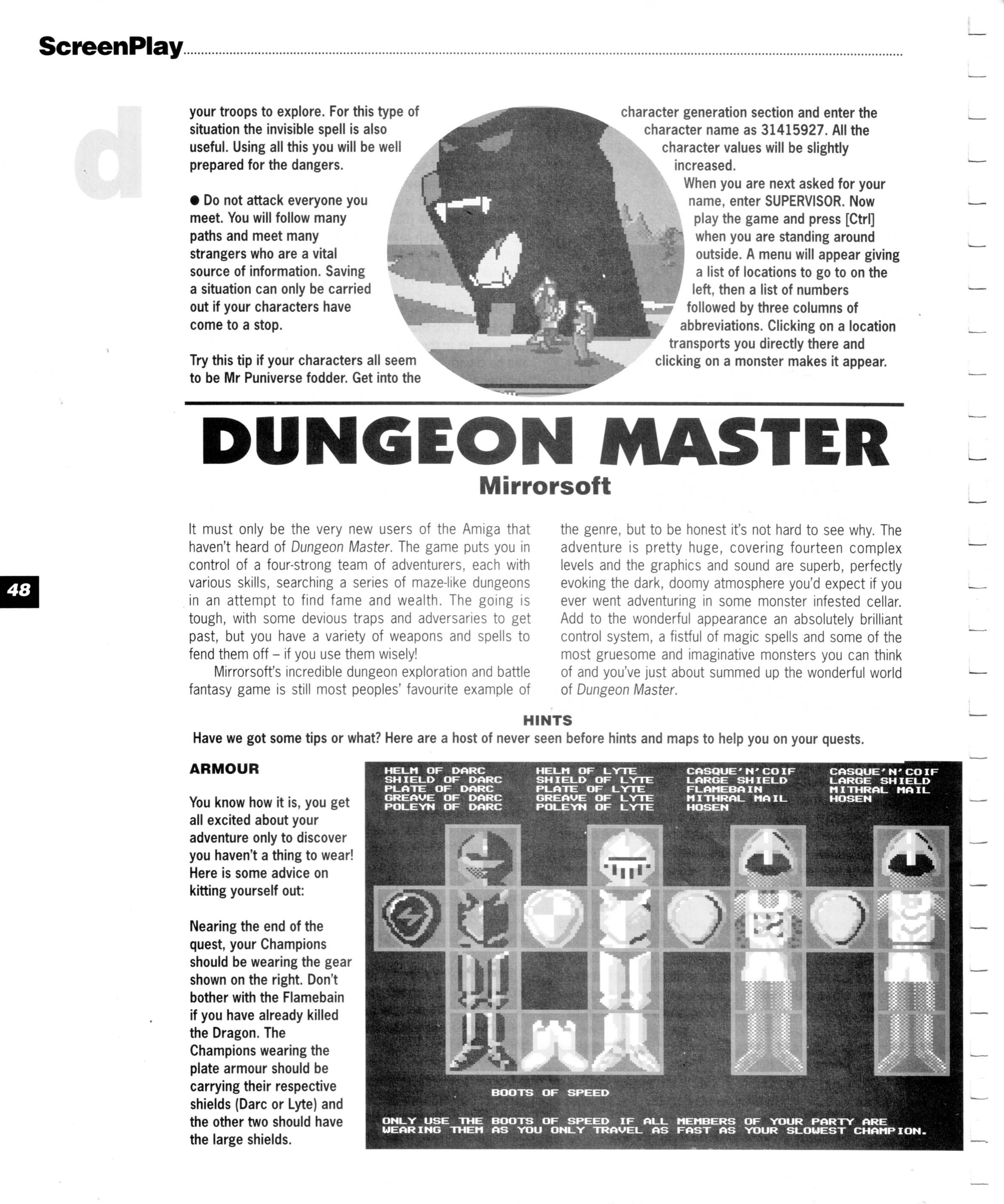 Dungeon Master for Amiga Guide published in British magazine 'Amiga Format Screenplay', 1990, Page 48