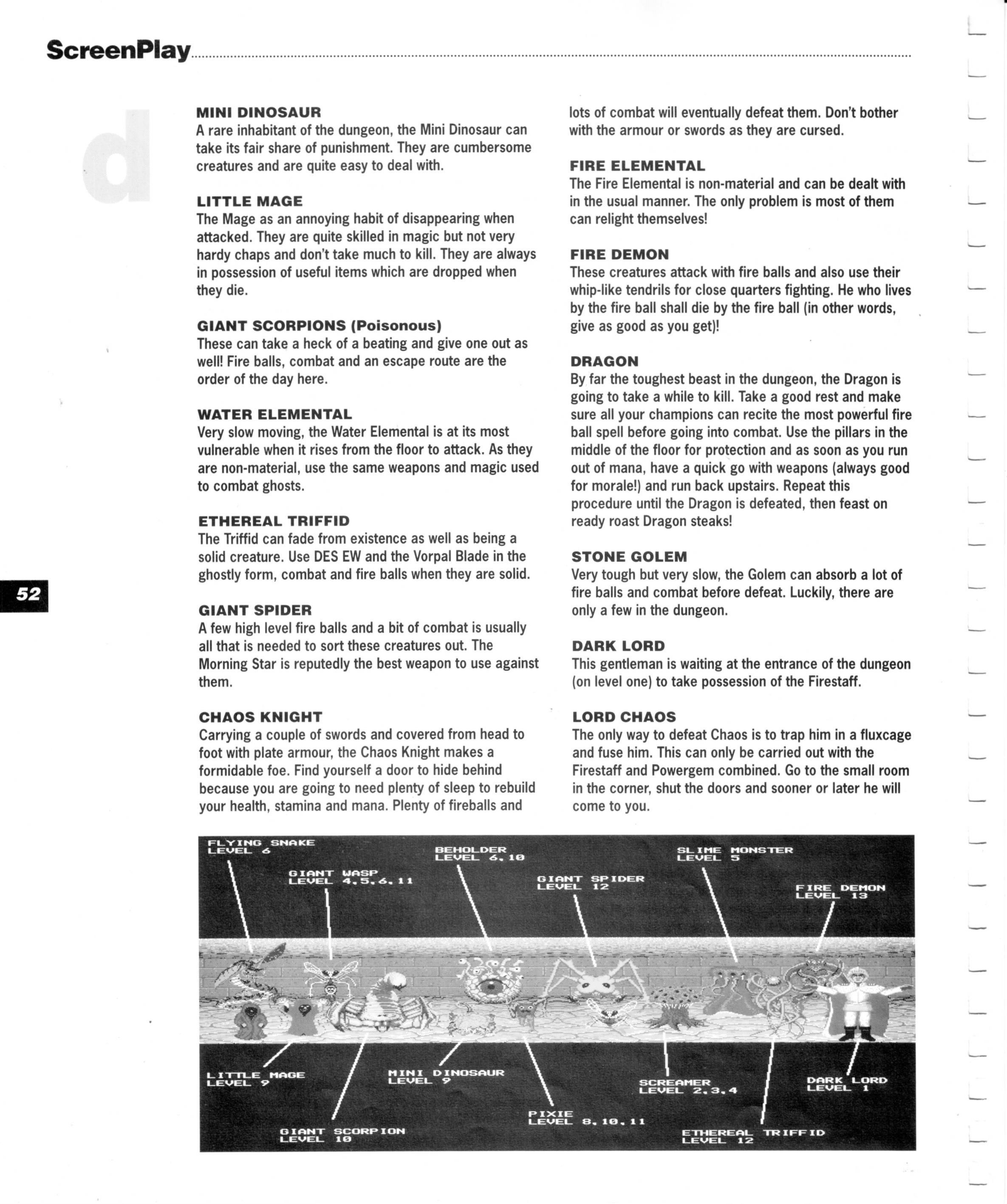 Dungeon Master for Amiga Guide published in British magazine 'Amiga Format Screenplay', 1990, Page 52