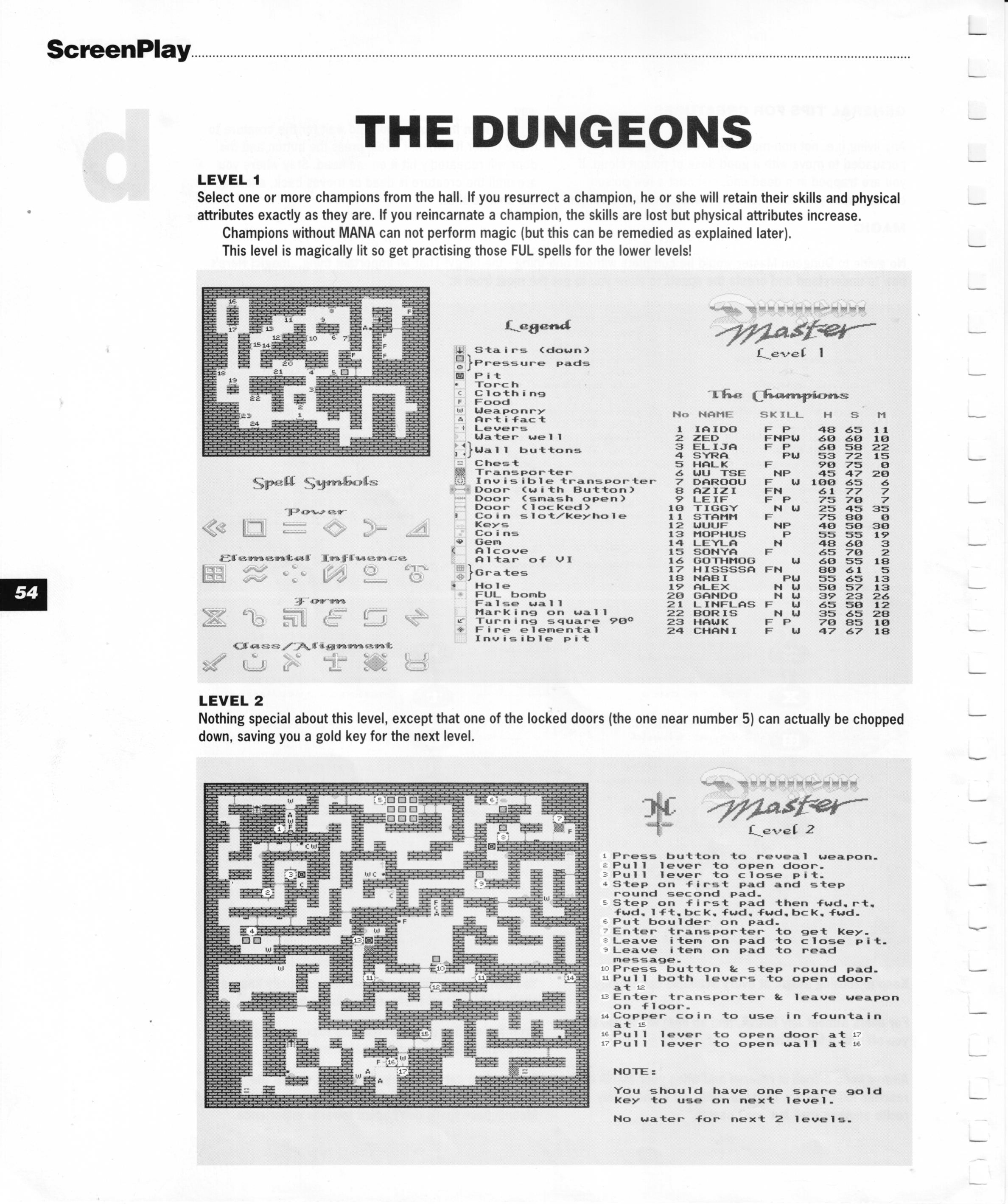 Dungeon Master for Amiga Guide published in British magazine 'Amiga Format Screenplay', 1990, Page 54