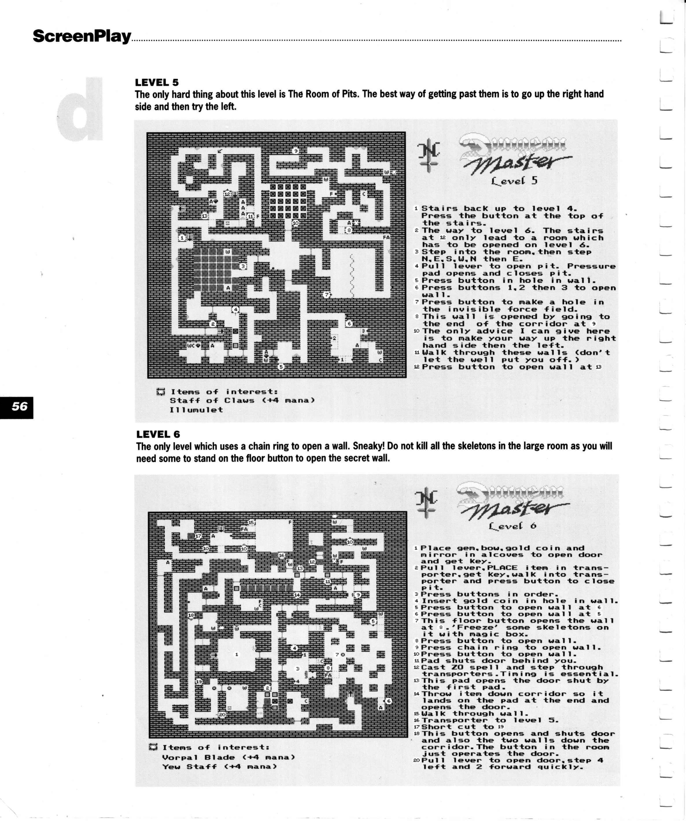 Dungeon Master for Amiga Guide published in British magazine 'Amiga Format Screenplay', 1990, Page 56
