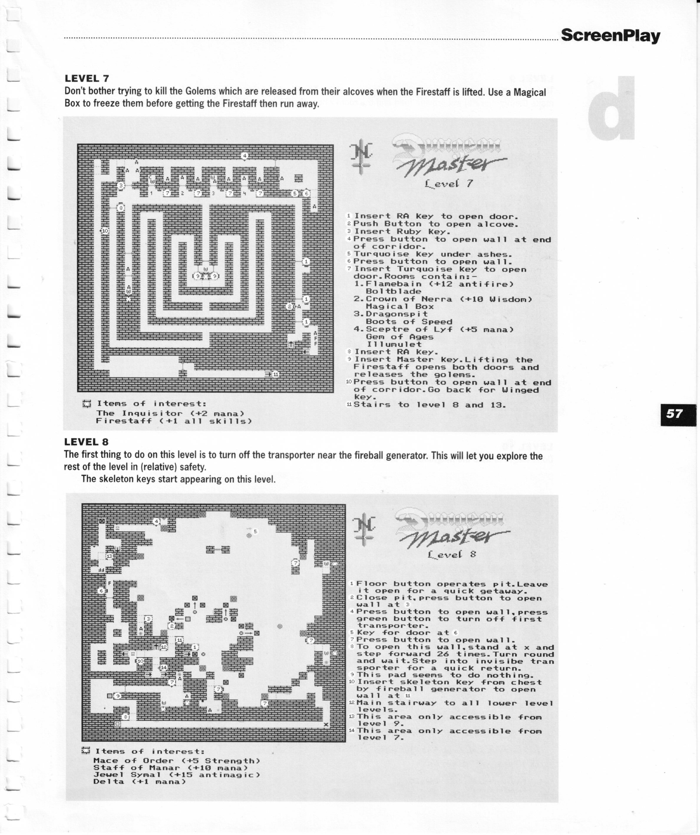 Dungeon Master for Amiga Guide published in British magazine 'Amiga Format Screenplay', 1990, Page 57