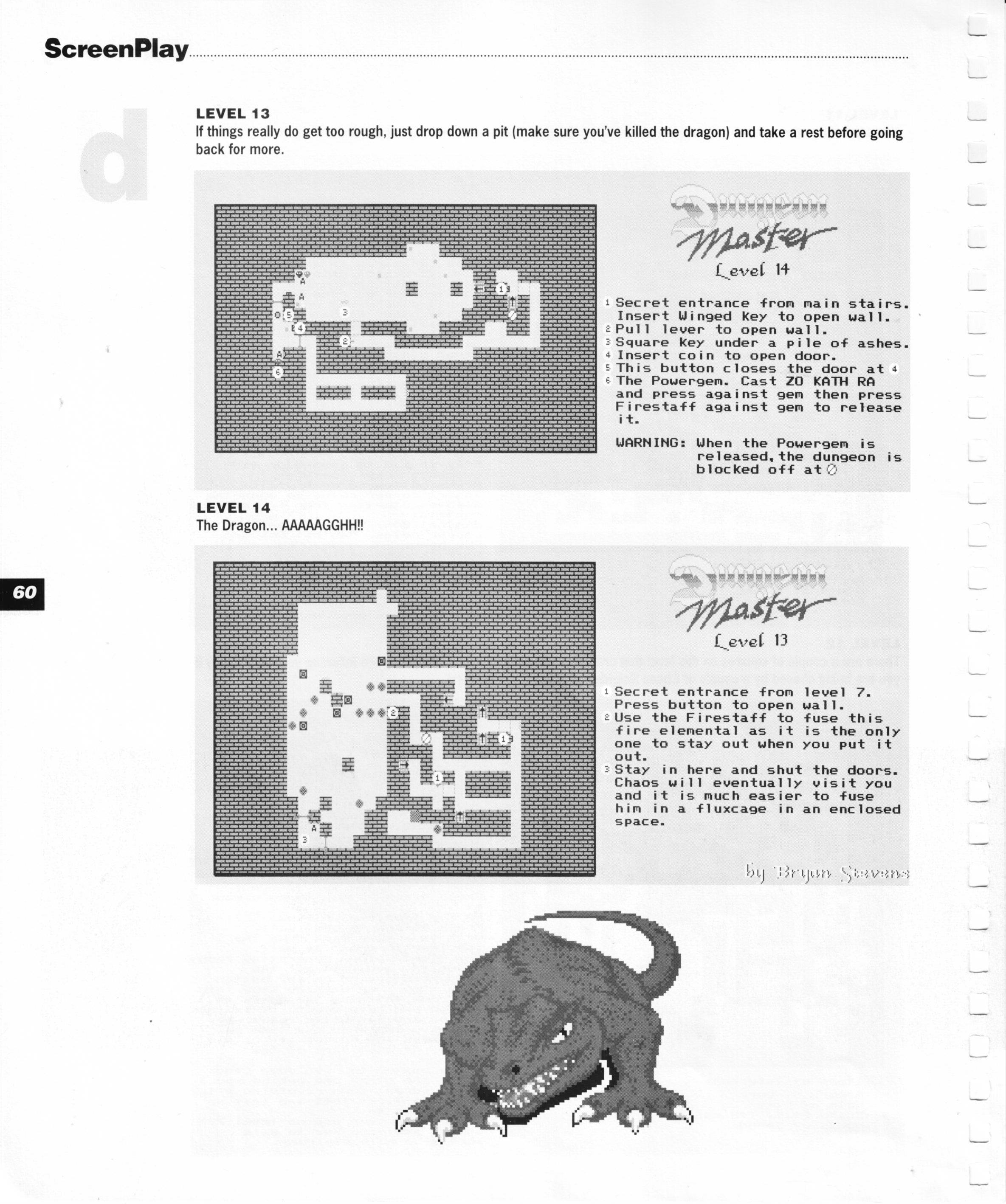 Dungeon Master for Amiga Guide published in British magazine 'Amiga Format Screenplay', 1990, Page 60