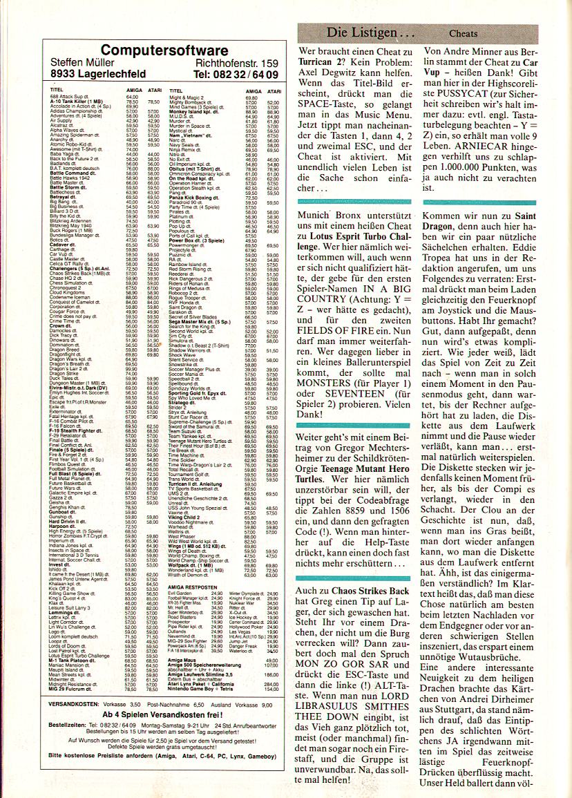 Chaos Strikes Back for Amiga Hints published in German magazine 'Amiga Joker', April 1991, Page 94