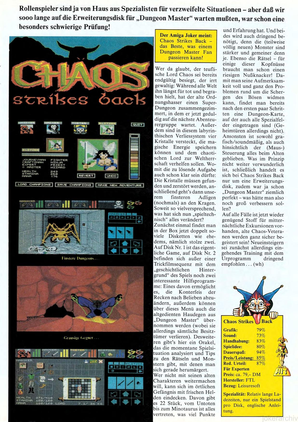 Chaos Strikes Back for Amiga Review published in German magazine 'Amiga Joker', February 1991, Page 49