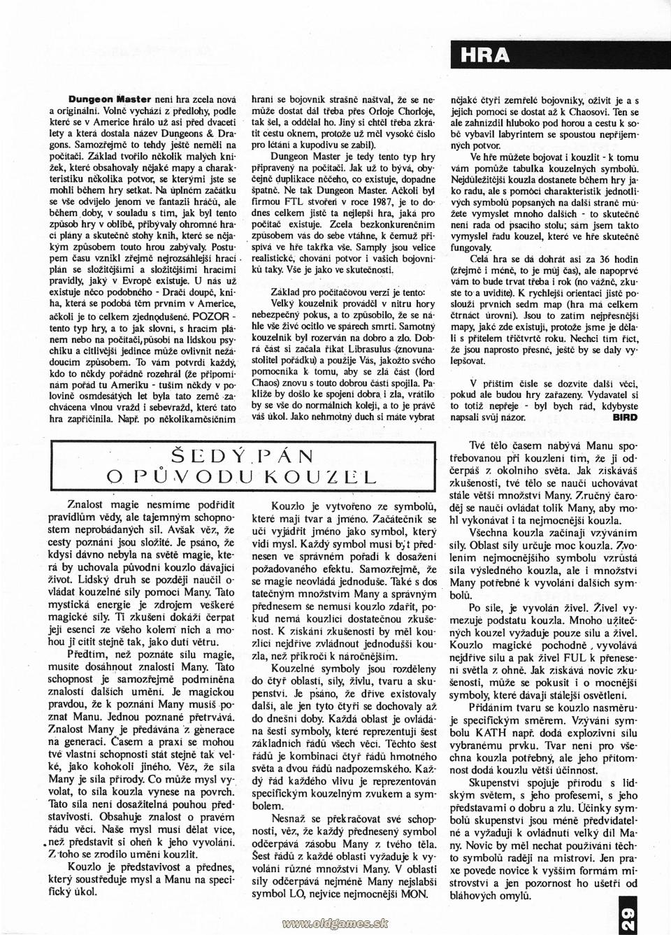 Dungeon Master Hints published in Czech magazine 'Amiga Magazin', Issue #3 July 1991, Page 29