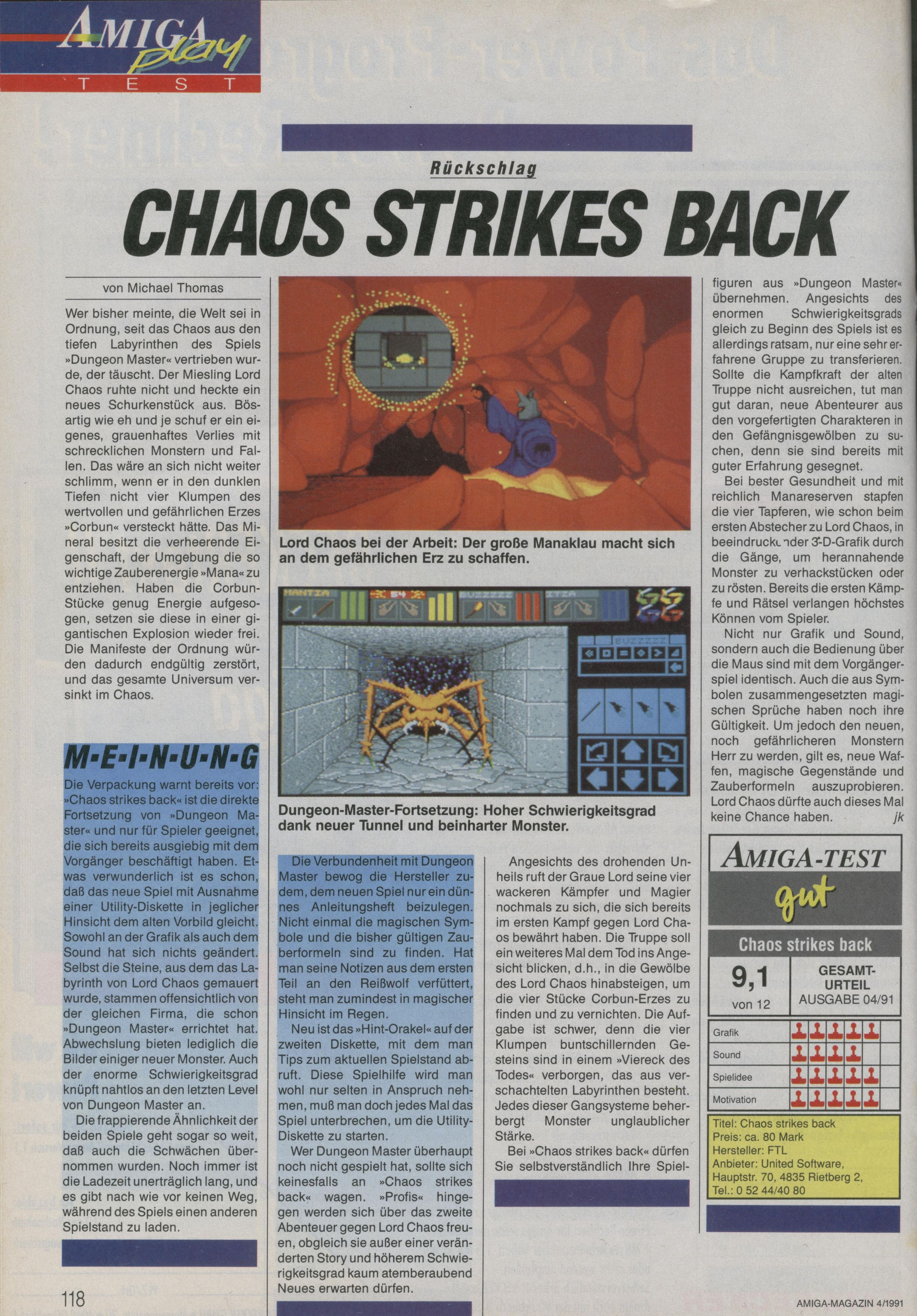 Chaos Strikes Back for Atari ST Review published in German magazine 'Amiga Magazin', April 1991, Page 118