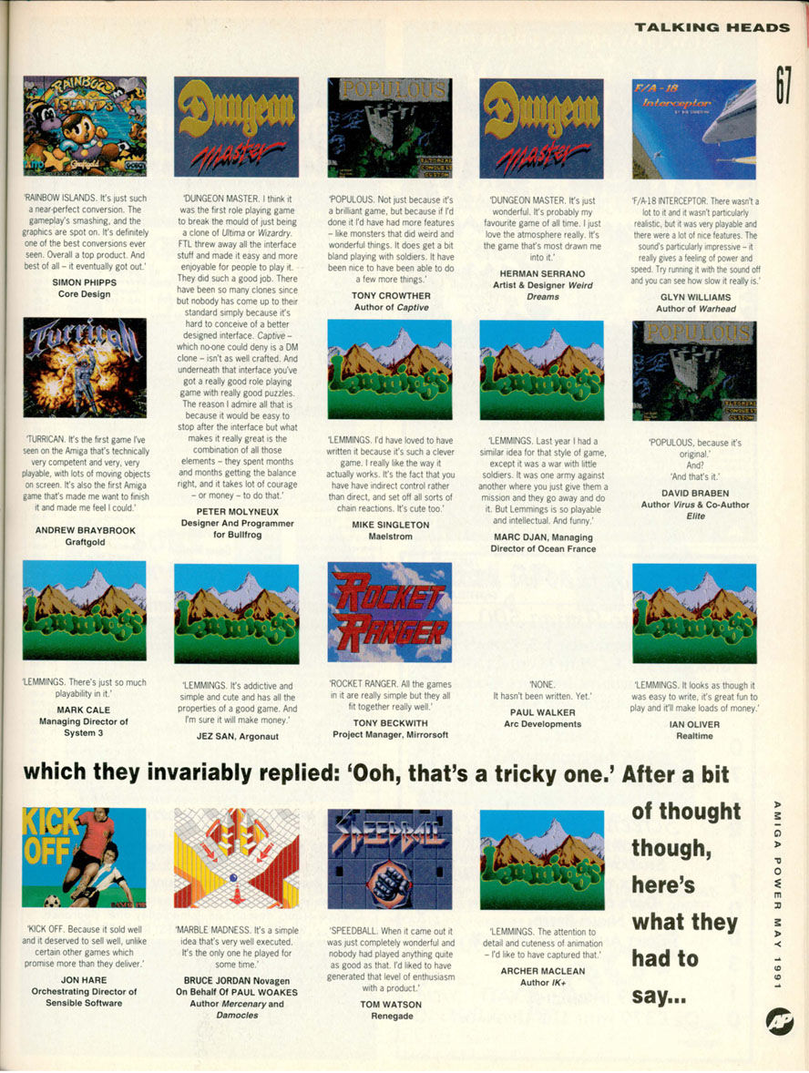 Dungeon Master Article published in British magazine 'Amiga Power', Issue #1 May 1991, Page 67