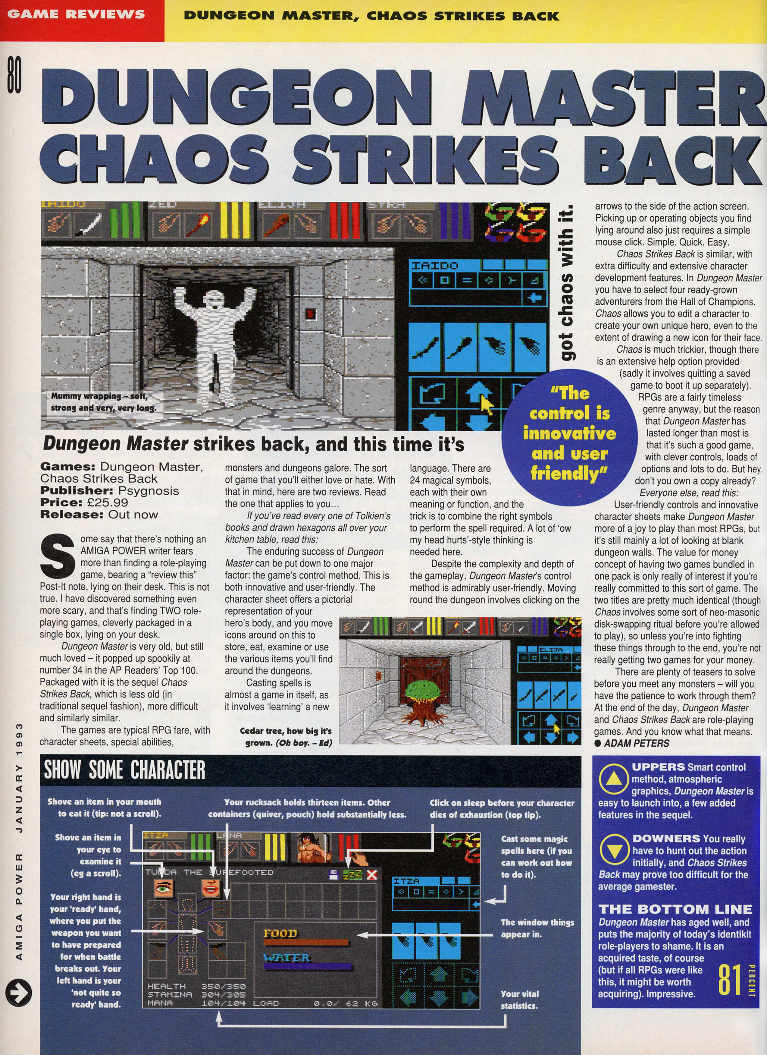 Dungeon Master and Chaos Strikes Back compilation for Amiga Review published in British magazine 'Amiga Power', Issue #21, January 1993, Page 80
