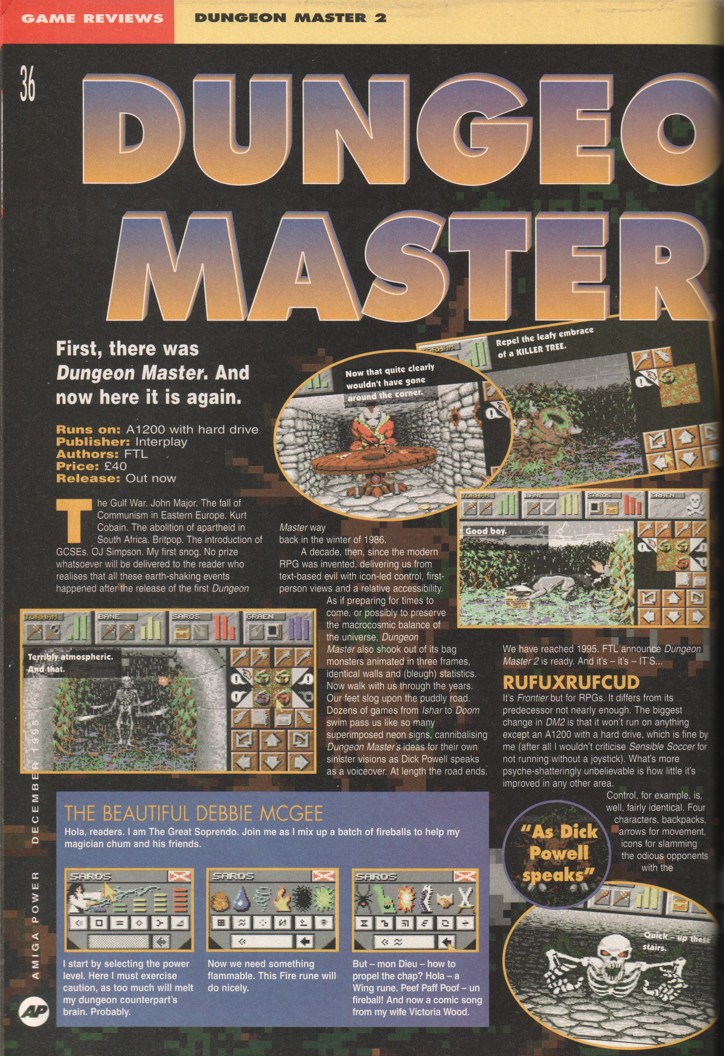 Dungeon Master II for Amiga Review published in British magazine 'Amiga Power', Issue #56 December 1995, Page 36
