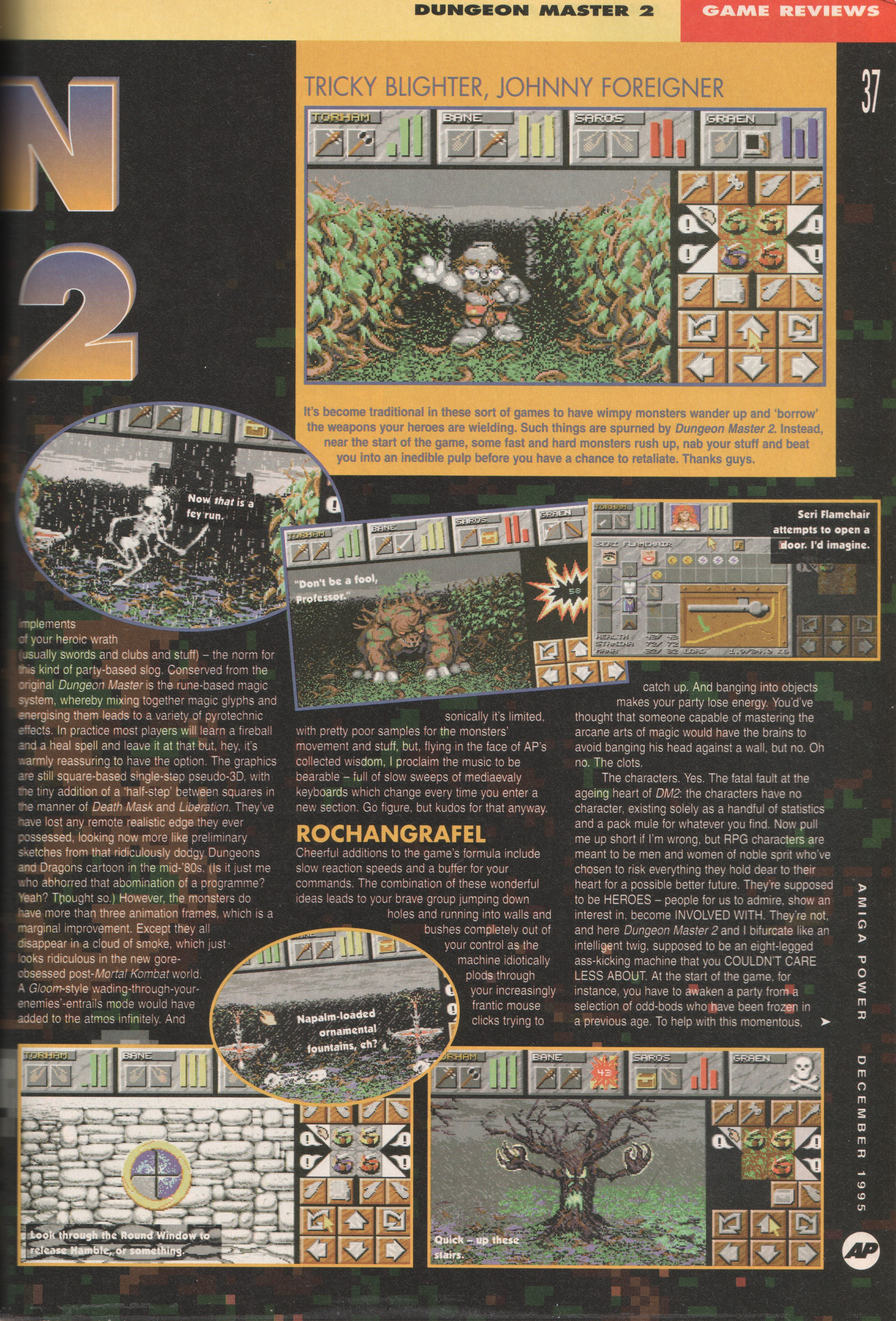 Dungeon Master II for Amiga Review published in British magazine 'Amiga Power', Issue #56 December 1995, Page 37