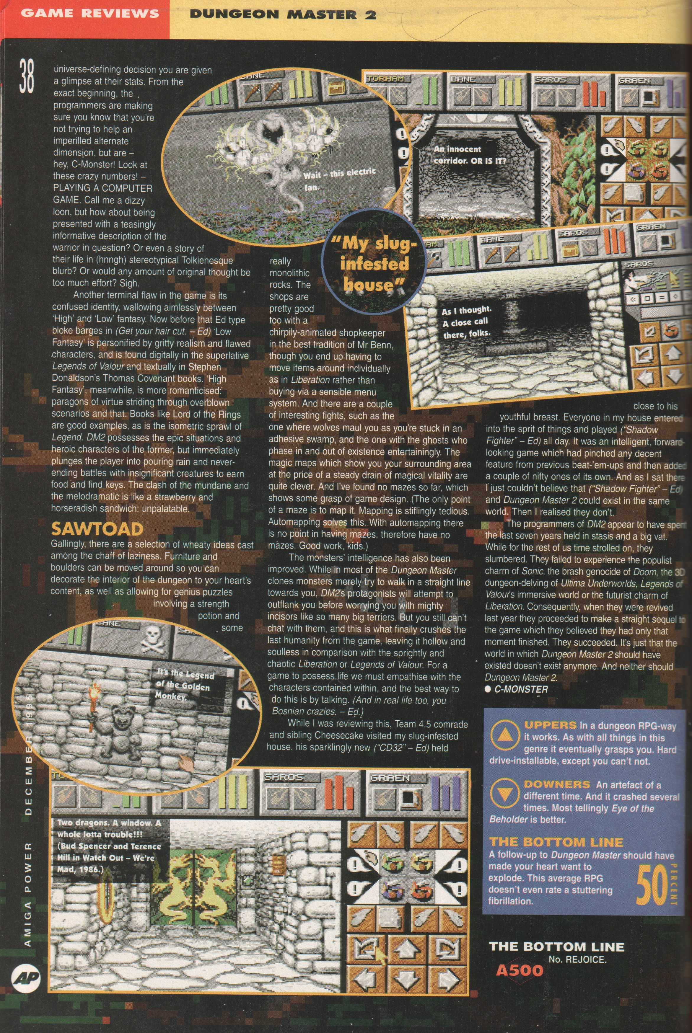Dungeon Master II for Amiga Review published in British magazine 'Amiga Power', Issue #56 December 1995, Page 38
