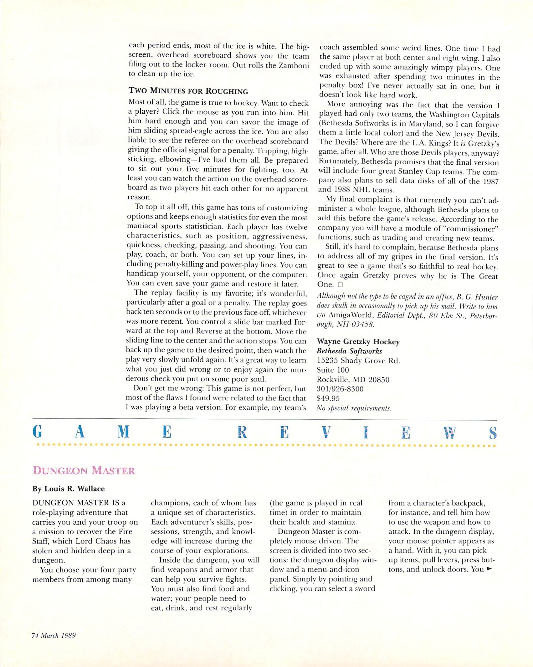 Dungeon Master for Amiga Review published in American magazine 'Amiga World', Vol 5 No 3 March 1989, Page 74