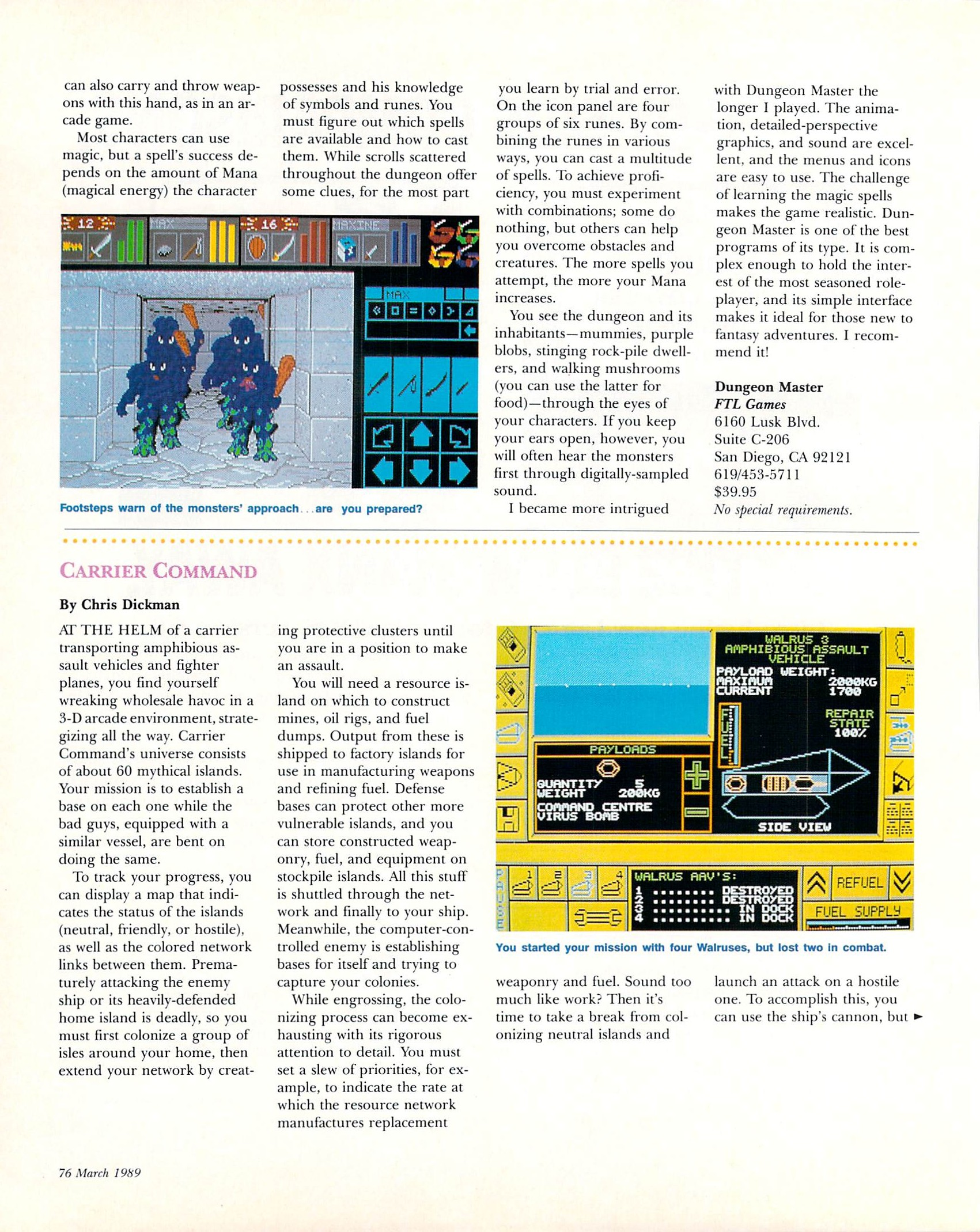 Dungeon Master for Amiga Review published in American magazine 'Amiga World', Vol 5 No 3 March 1989, Page 76