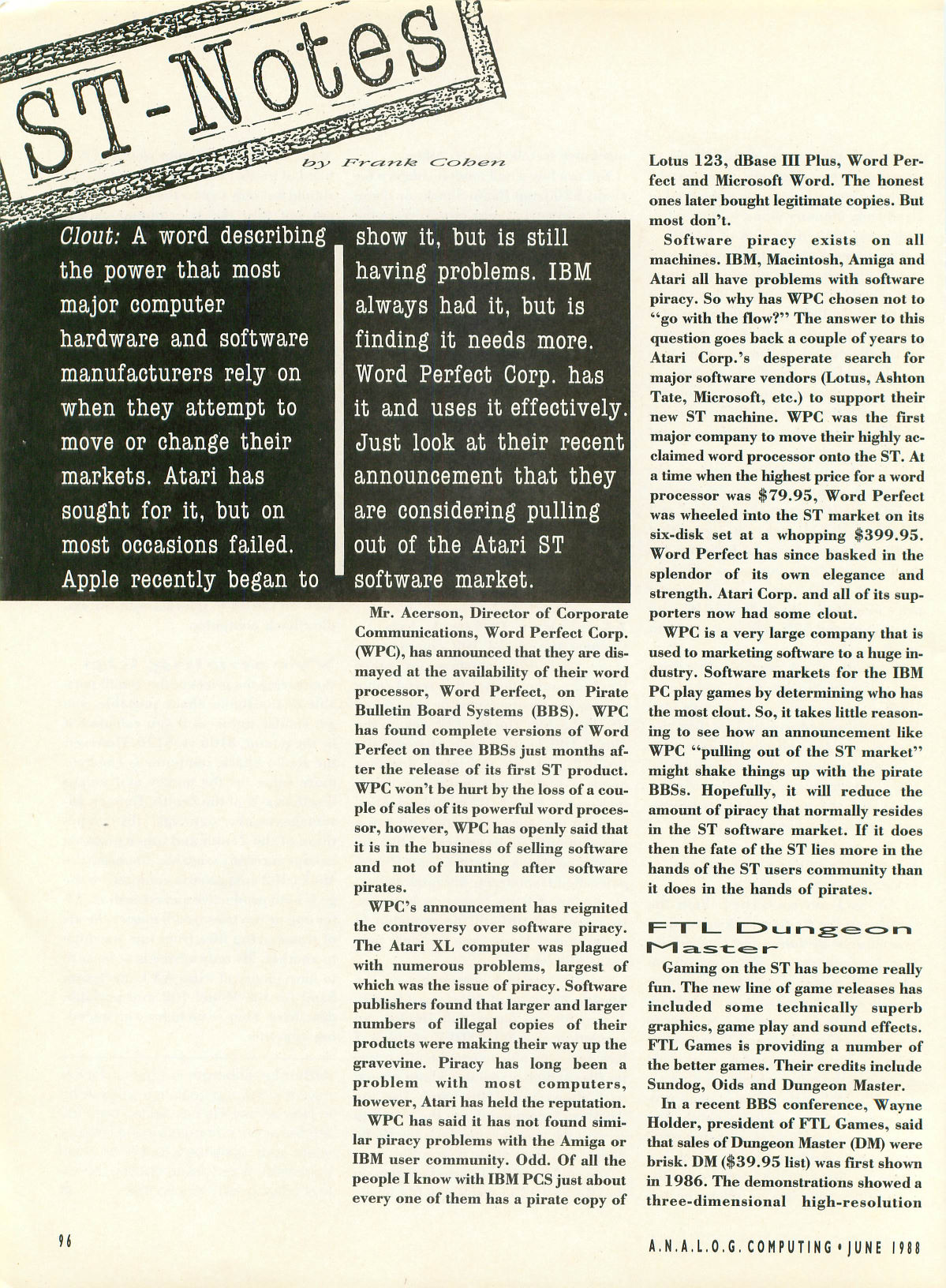 Dungeon Master for Atari ST Article published in American magazine 'Analog Computing', Issue #61 June 1988, Page 96