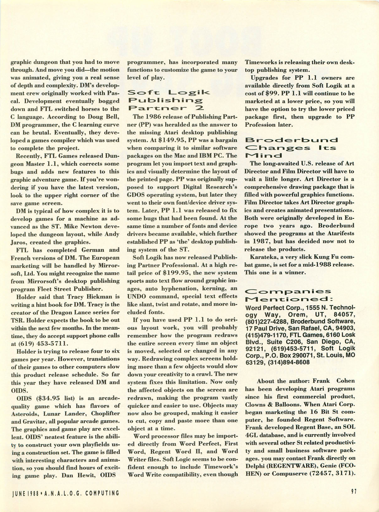 Dungeon Master for Atari ST Article published in American magazine 'Analog Computing', Issue #61 June 1988, Page 97