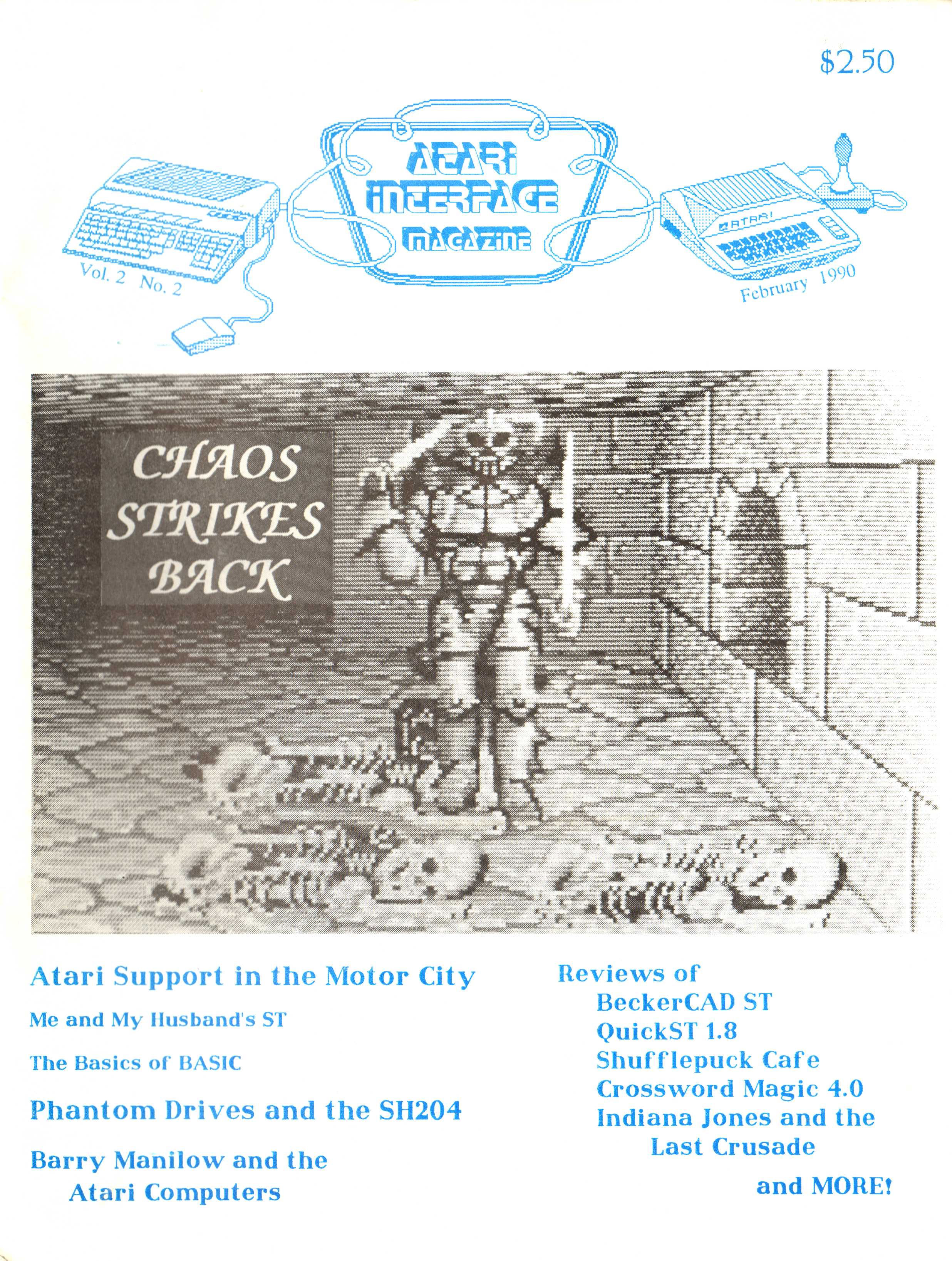 Chaos Strikes Back for Atari ST Cover published in American magazine 'Atari Interface Magazine', Vol 2 No 2 February 1990