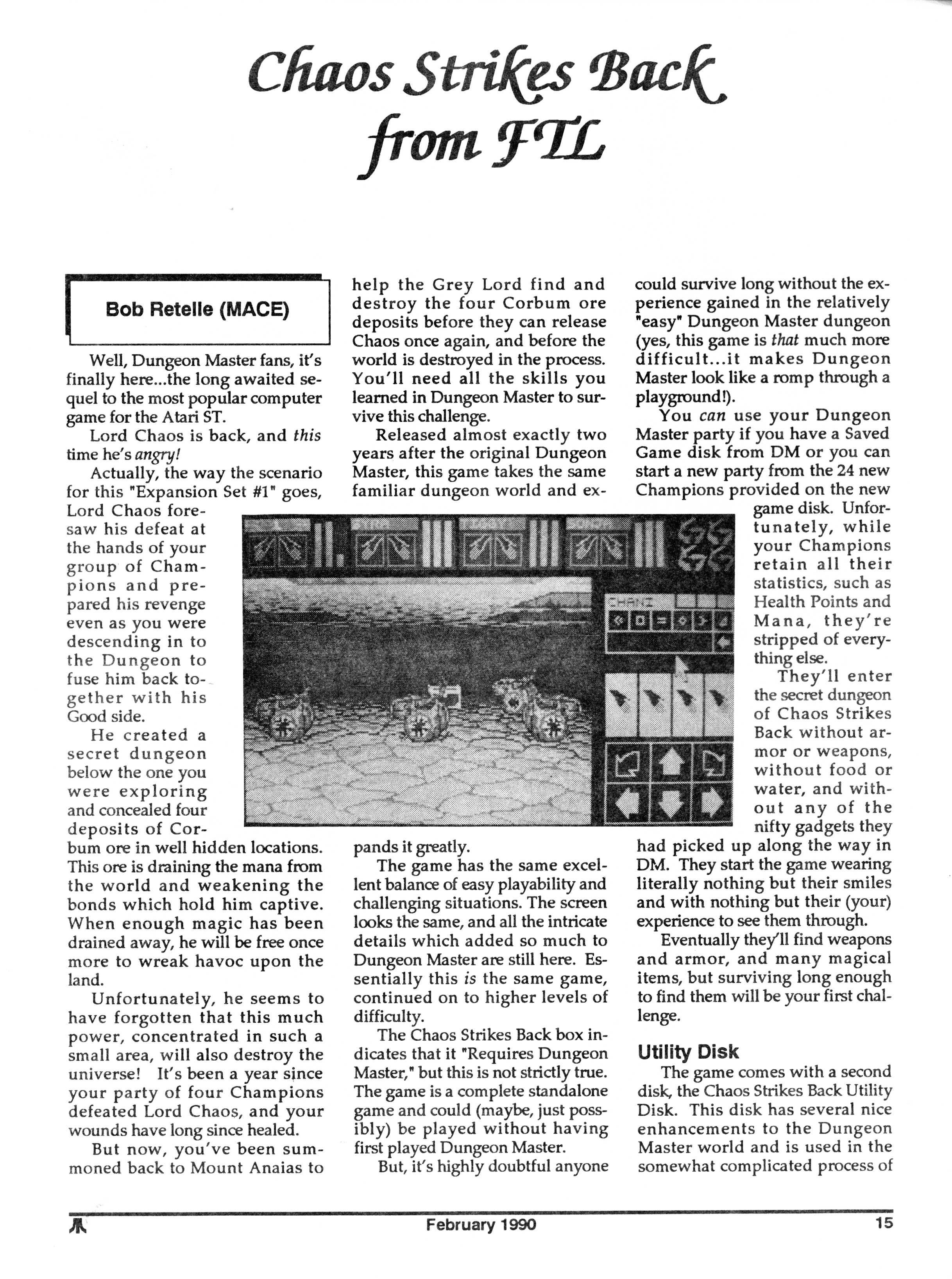 Chaos Strikes Back for Atari ST Review published in American magazine 'Atari Interface Magazine', Vol 2 No 2 February 1990, Page 15