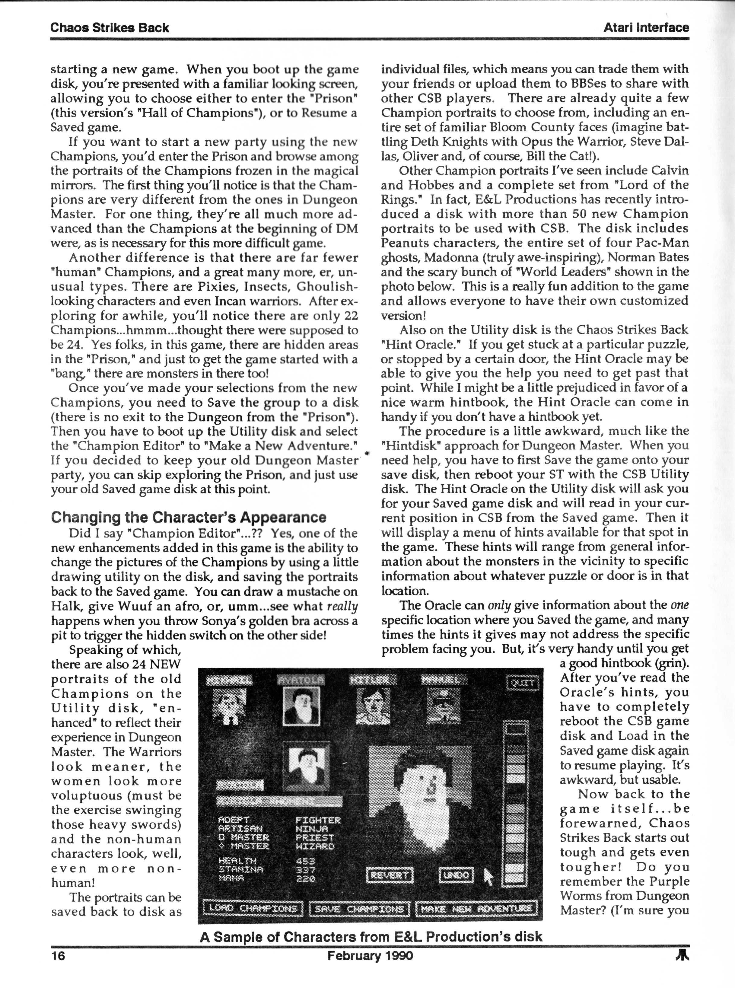 Chaos Strikes Back for Atari ST Review published in American magazine 'Atari Interface Magazine', Vol 2 No 2 February 1990, Page 16