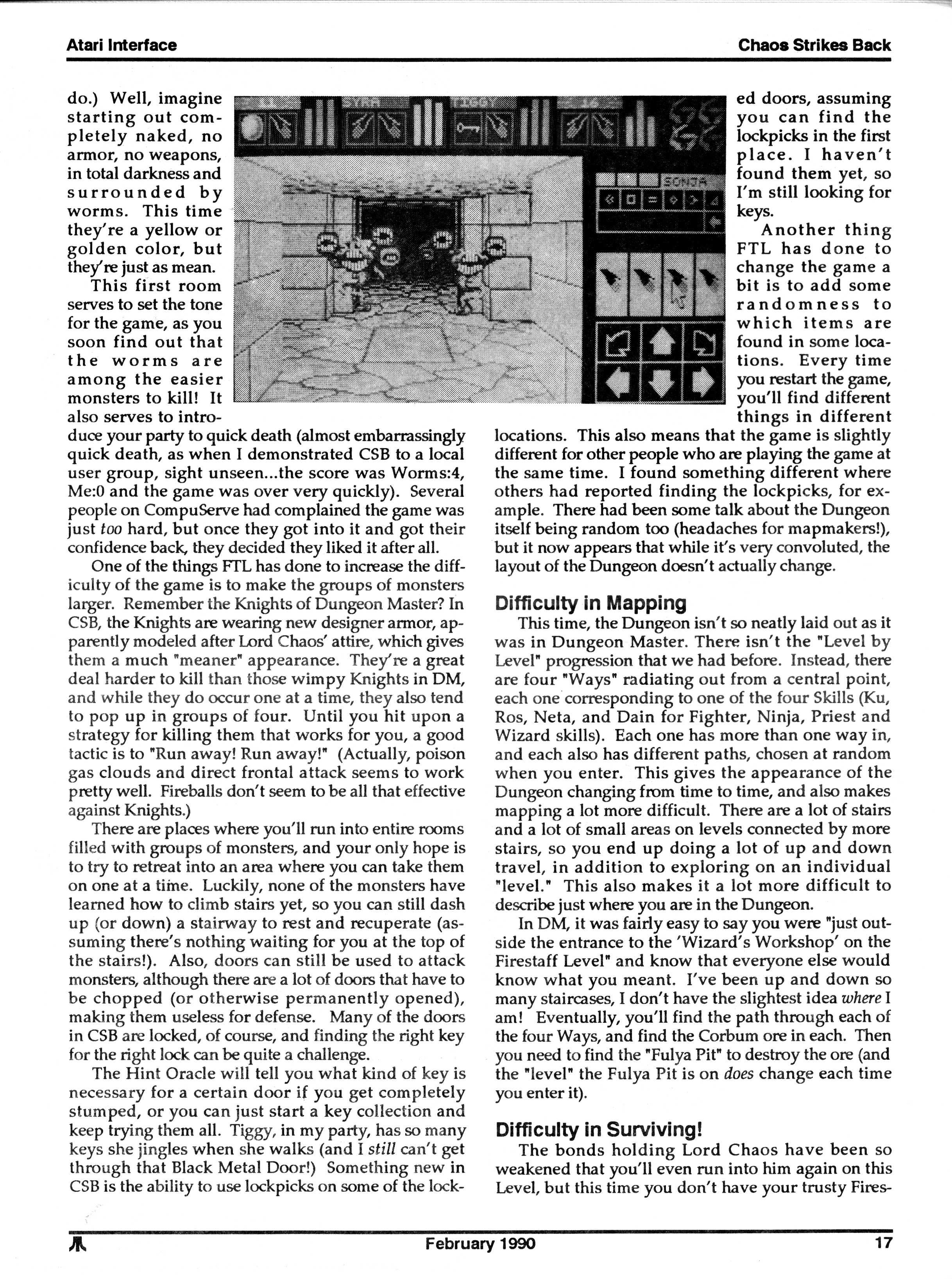 Chaos Strikes Back for Atari ST Review published in American magazine 'Atari Interface Magazine', Vol 2 No 2 February 1990, Page 17