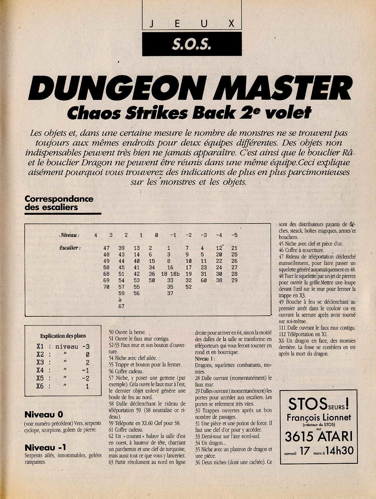 Chaos Strikes Back Hints published in French magazine 'Atari Magazine', Issue #10 March 1990, Page 55