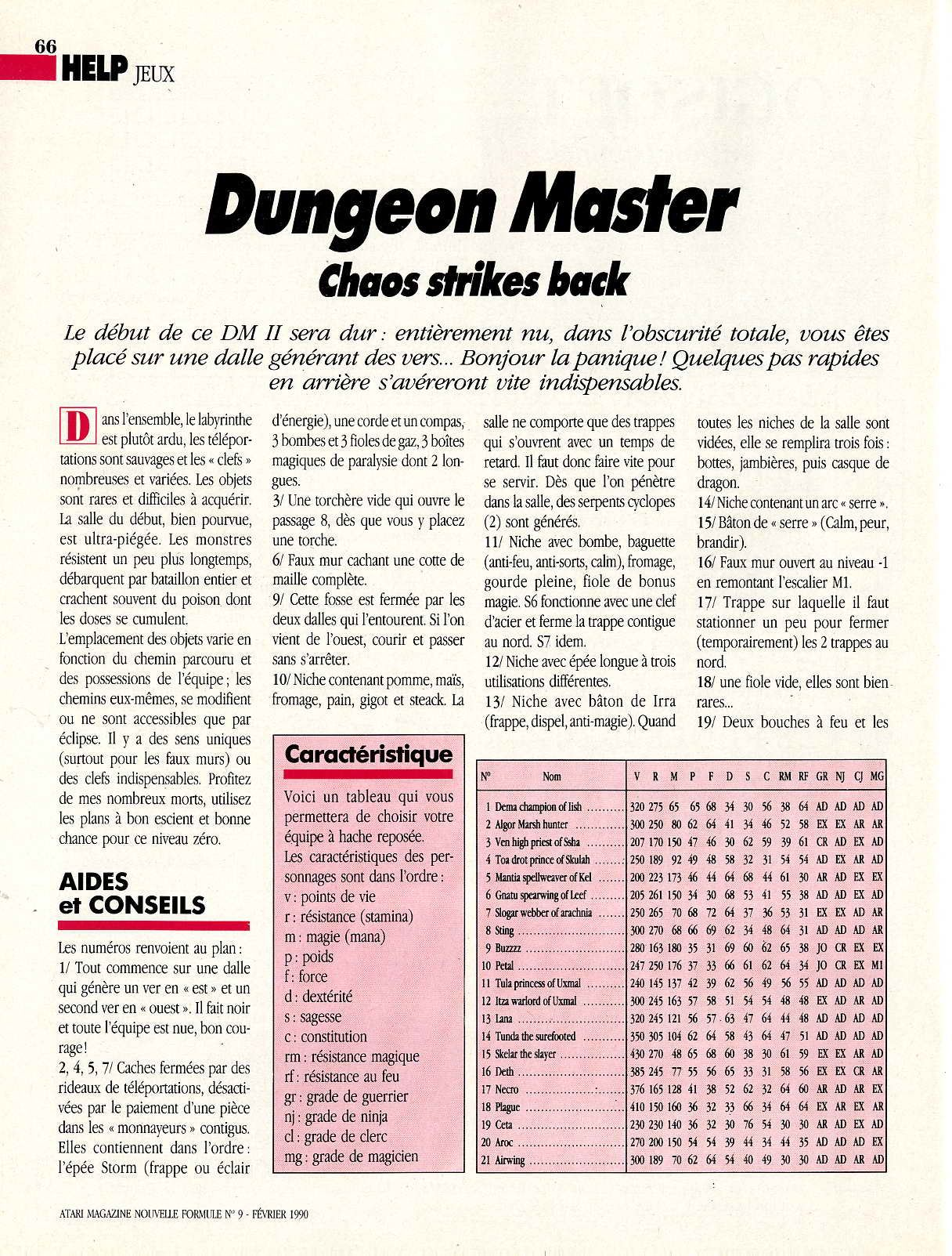 Chaos Strikes Back Hints published in French magazine 'Atari Magazine', Issue #9 February 1990, Page 66