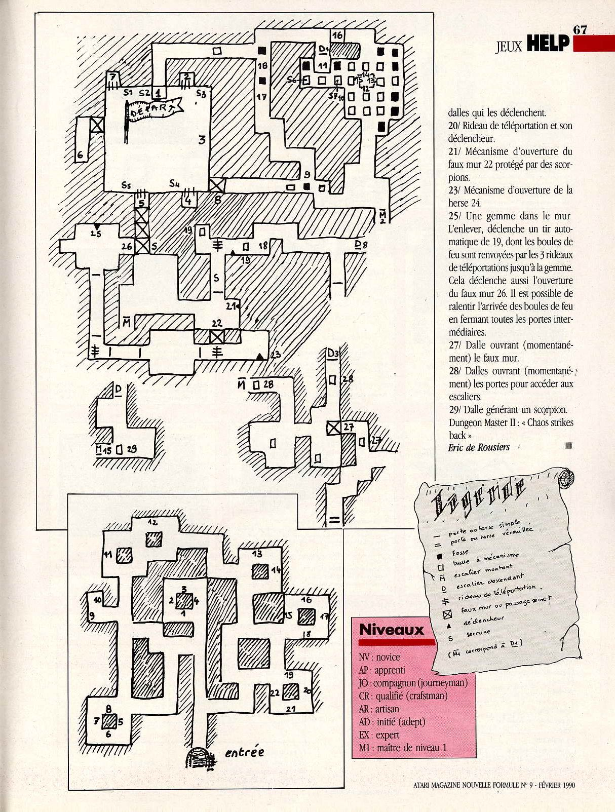 Chaos Strikes Back Hints published in French magazine 'Atari Magazine', Issue #9 February 1990, Page 67