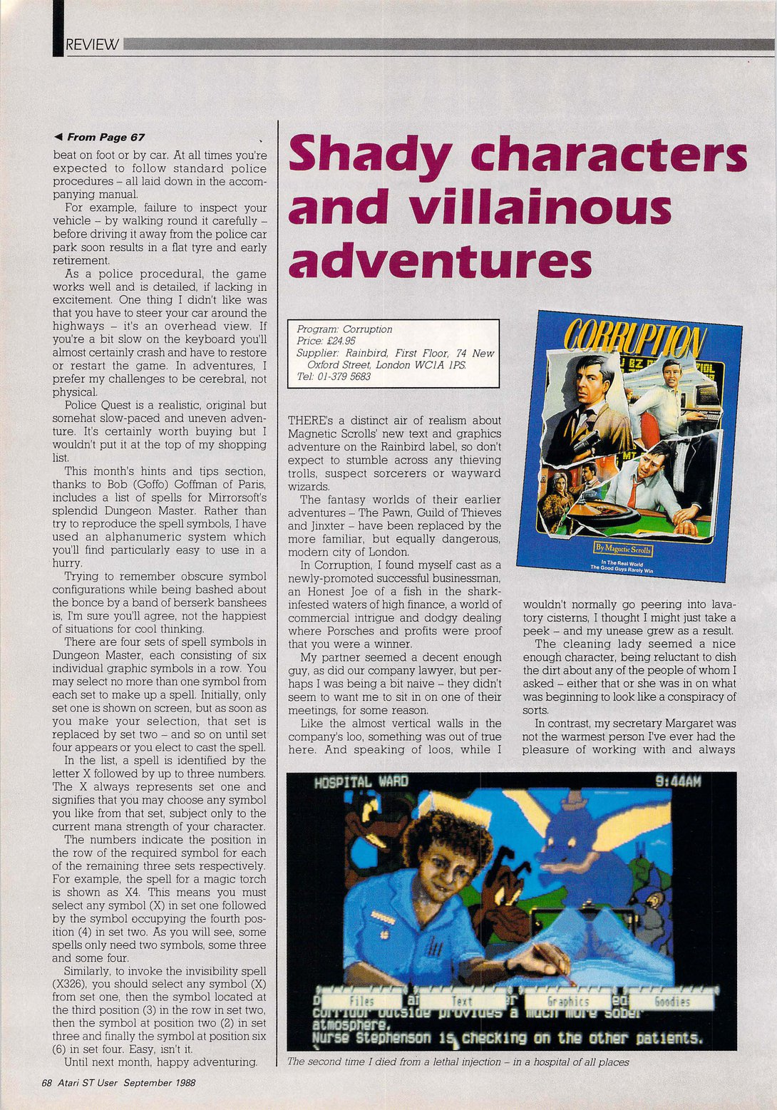Dungeon Master Hints published in British magazine 'Atari ST User', Vol 3 No 7 September 1988, Page 68