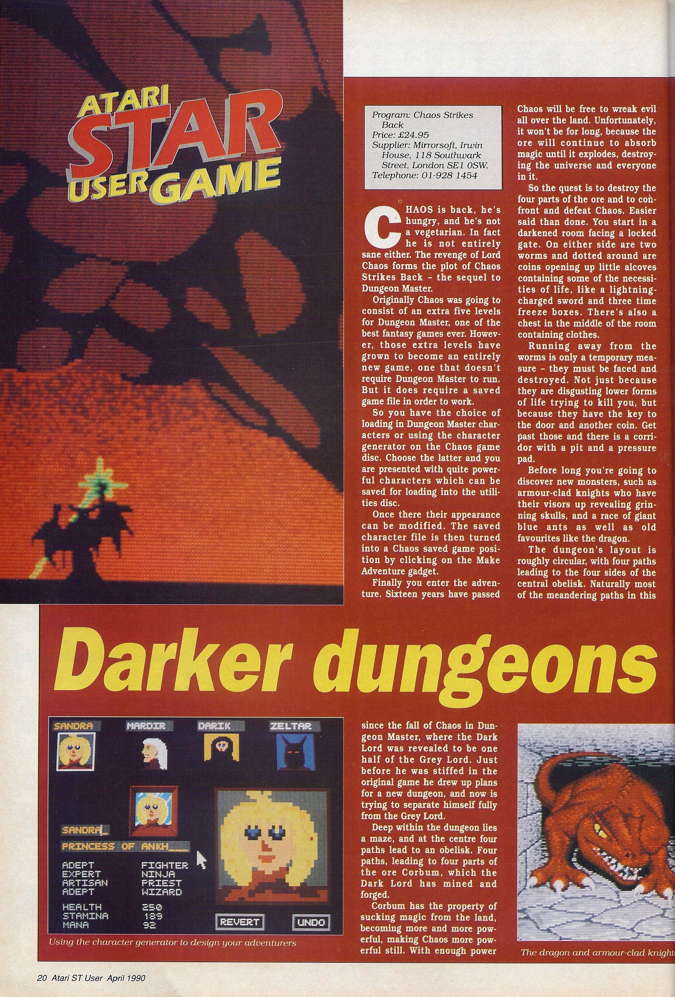 Chaos Strikes Back Review published in British magazine 'Atari ST User', Vol 5 No 2 April 1990, Page 20