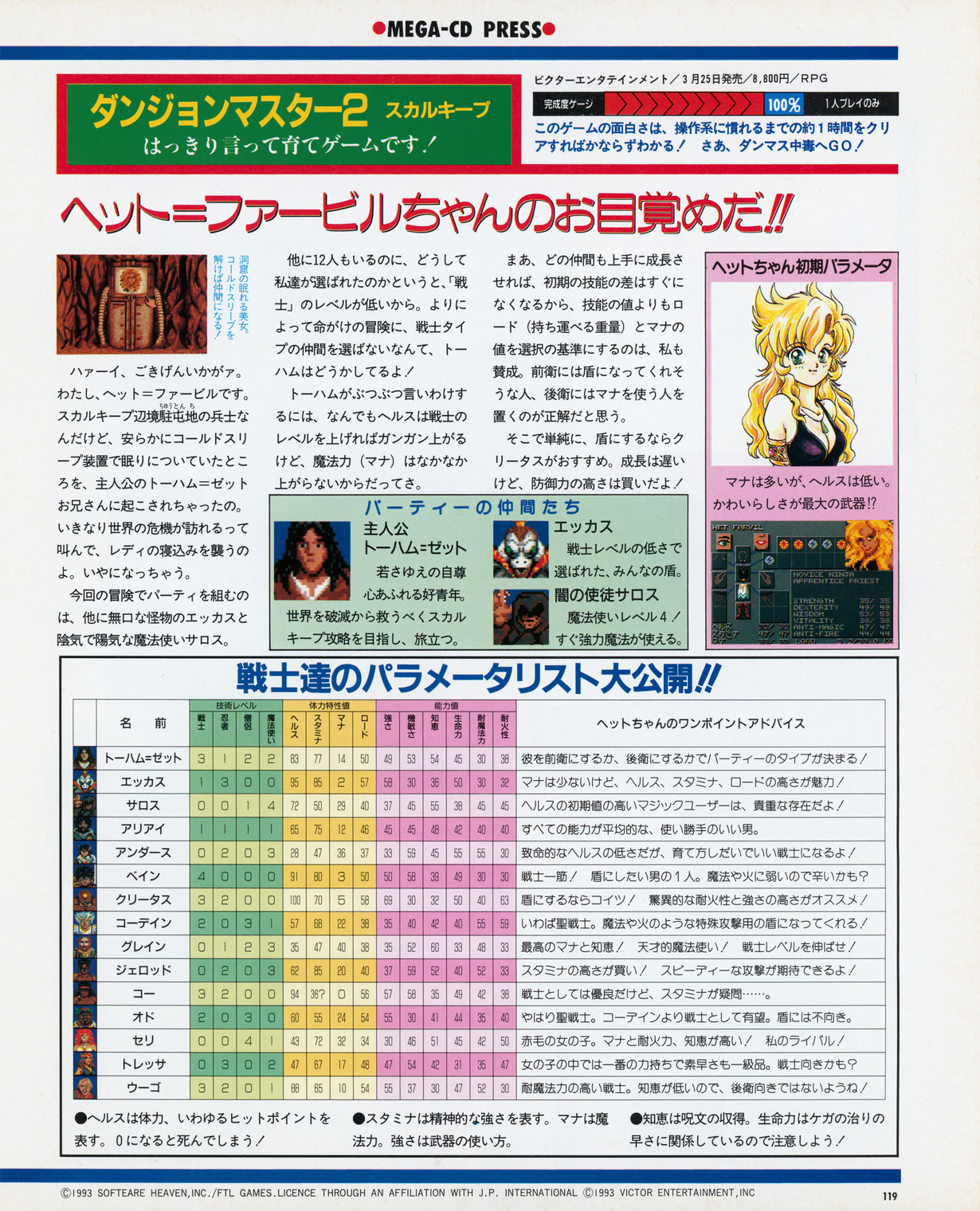 Dungeon Master II for Mega CD Hints published in Japanese magazine 'Beep! MegaDrive', April 1994, Page 119
