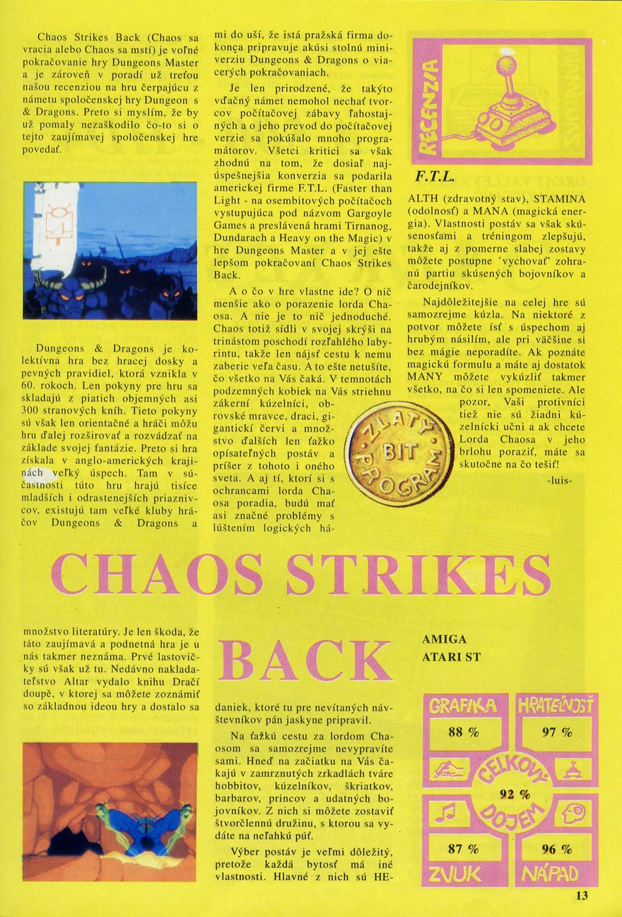 Chaos Strikes Back for Atari ST-Amiga Review published in Czech magazine 'BiT', March 1992, Page 13