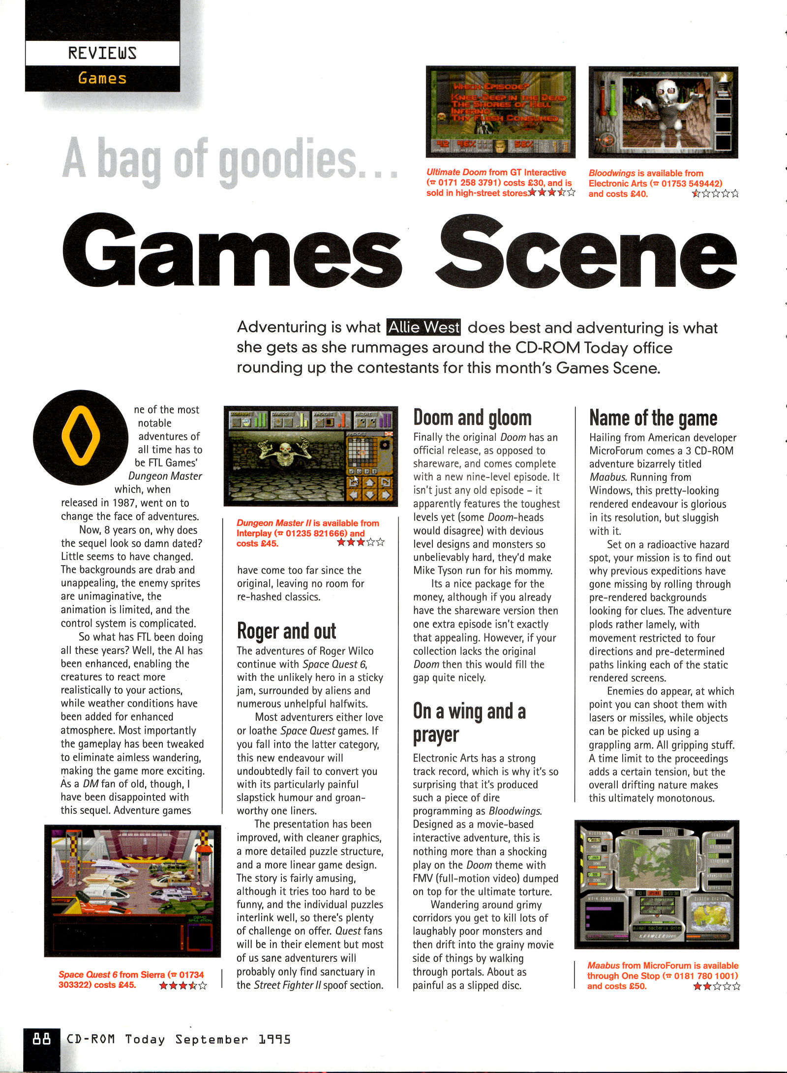 Dungeon Master II for PC Review published in British magazine 'CD-ROM Today', Issue #17 September 1992, Page 88