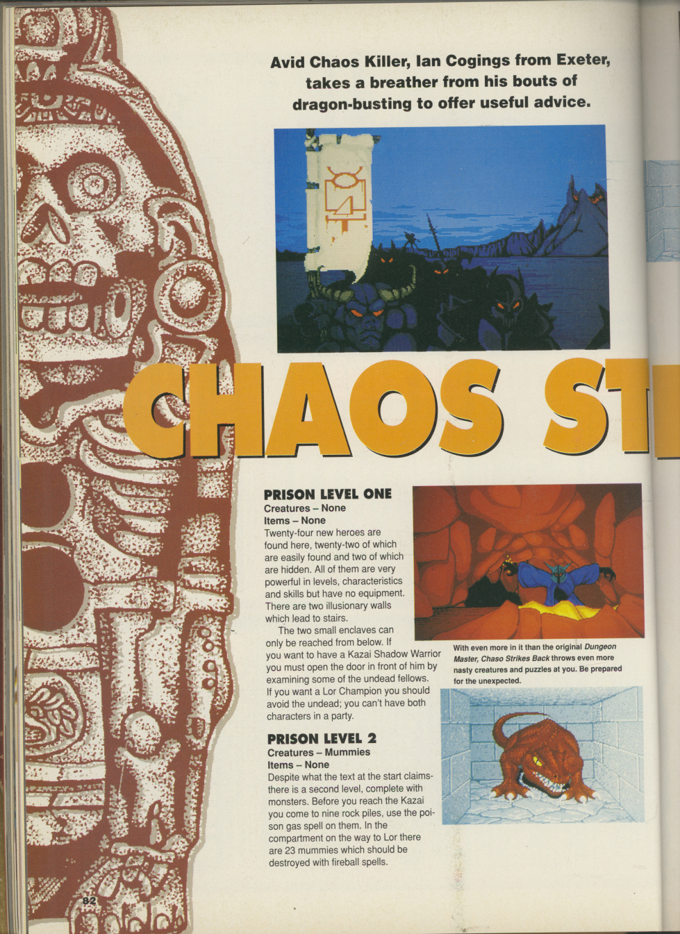 Chaos Strikes Back for Amiga Hints published in British magazine 'CU Amiga', April 1991, Page 82