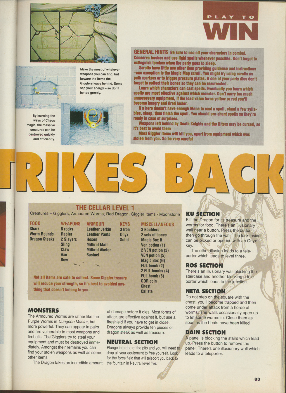 Chaos Strikes Back for Amiga Hints published in British magazine 'CU Amiga', April 1991, Page 83