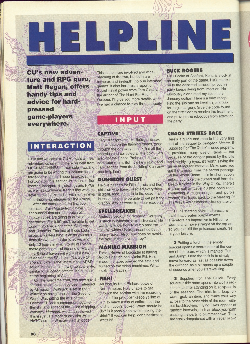 Chaos Strikes Back for Amiga Hints published in British magazine 'CU Amiga', March 1991, Page 96