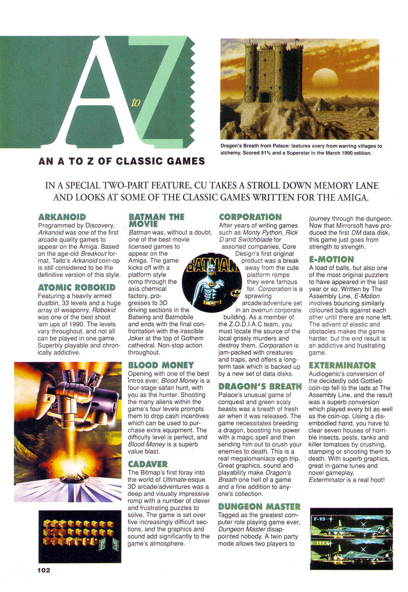 Dungeon Master Article published in British magazine 'CU Amiga', March 1991, Page 102