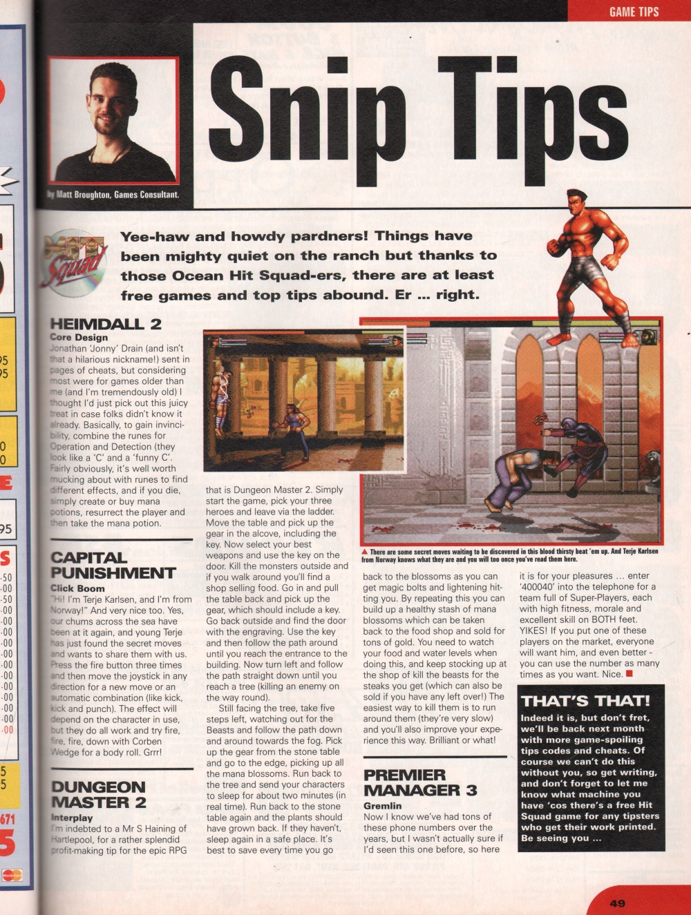 Dungeon Master II for Amiga Hints published in British magazine 'CU Amiga', March 1997, Page 49