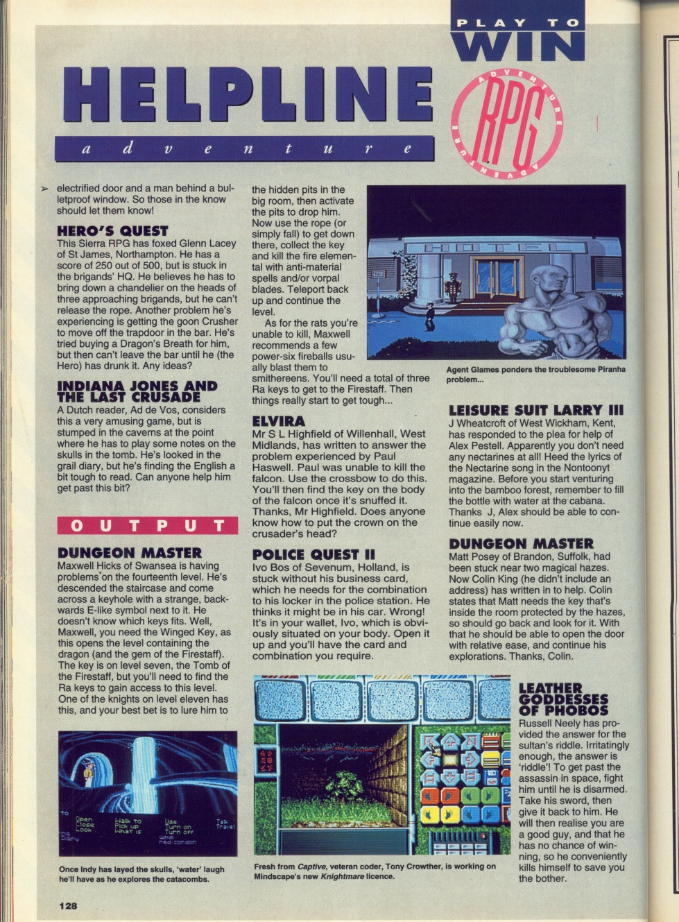Dungeon Master Hints published in British magazine 'CU Amiga', September 1991, Page 128
