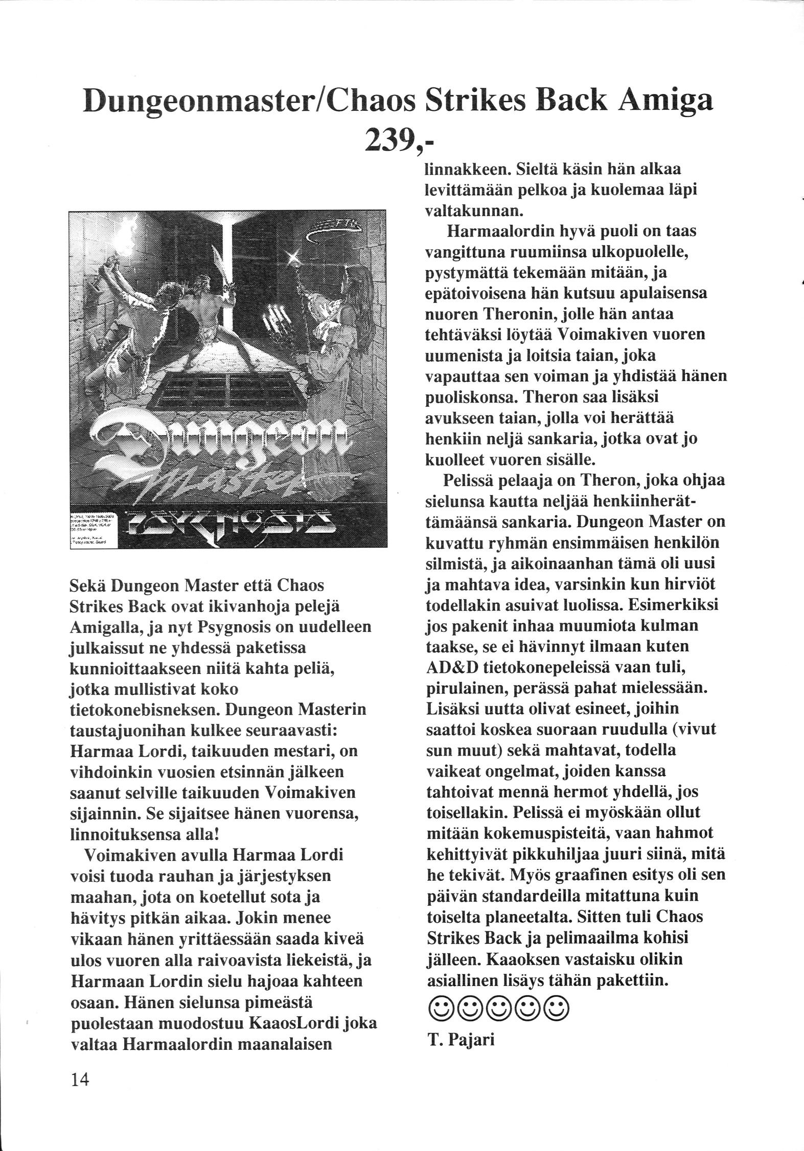 Dungeon Master And Chaos Strikes Back for Amiga Review published in Finnish magazine 'Com Club', Issue #5 November 1992, Page 14