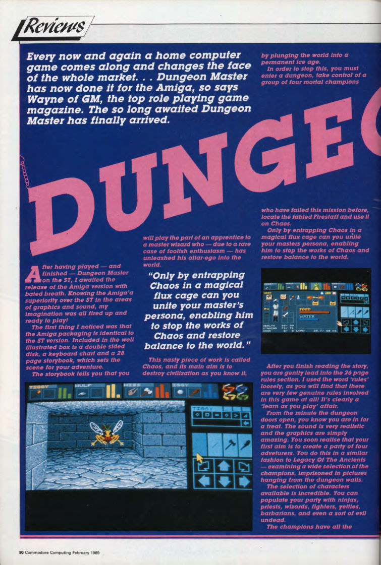 Dungeon Master for Amiga Review published in British magazine 'Commodore Computing International', Vol 7 No 6 February 1989, Page 90