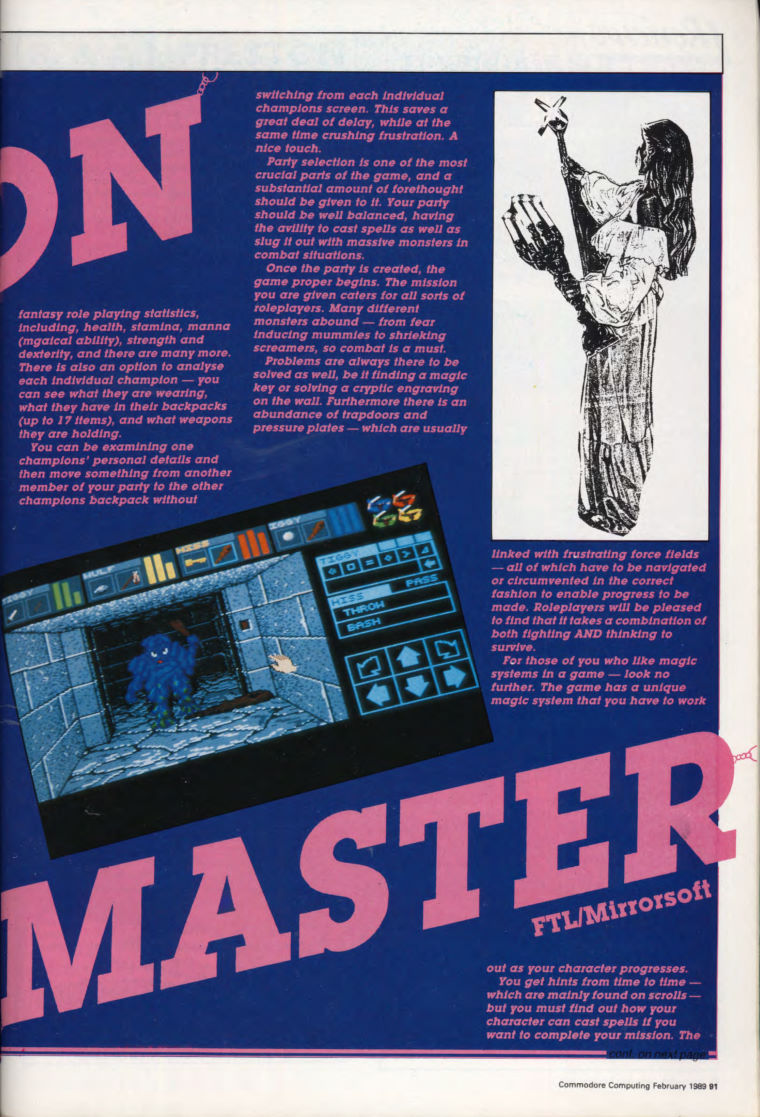 Dungeon Master for Amiga Review published in British magazine 'Commodore Computing International', Vol 7 No 6 February 1989, Page 91