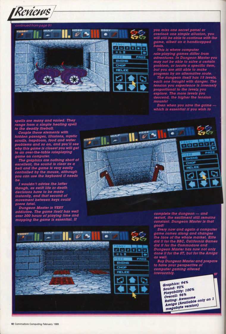 Dungeon Master for Amiga Review published in British magazine 'Commodore Computing International', Vol 7 No 6 February 1989, Page 92