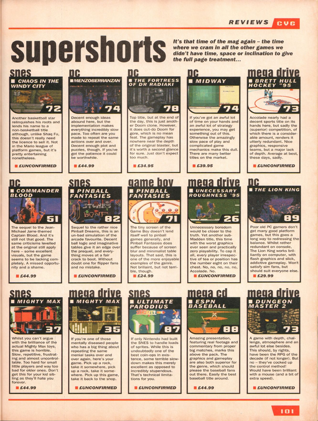 Dungeon Master II for Mega CD Review published in British magazine 'Computer And Video Games', Issue #160 March 1995, Page 101