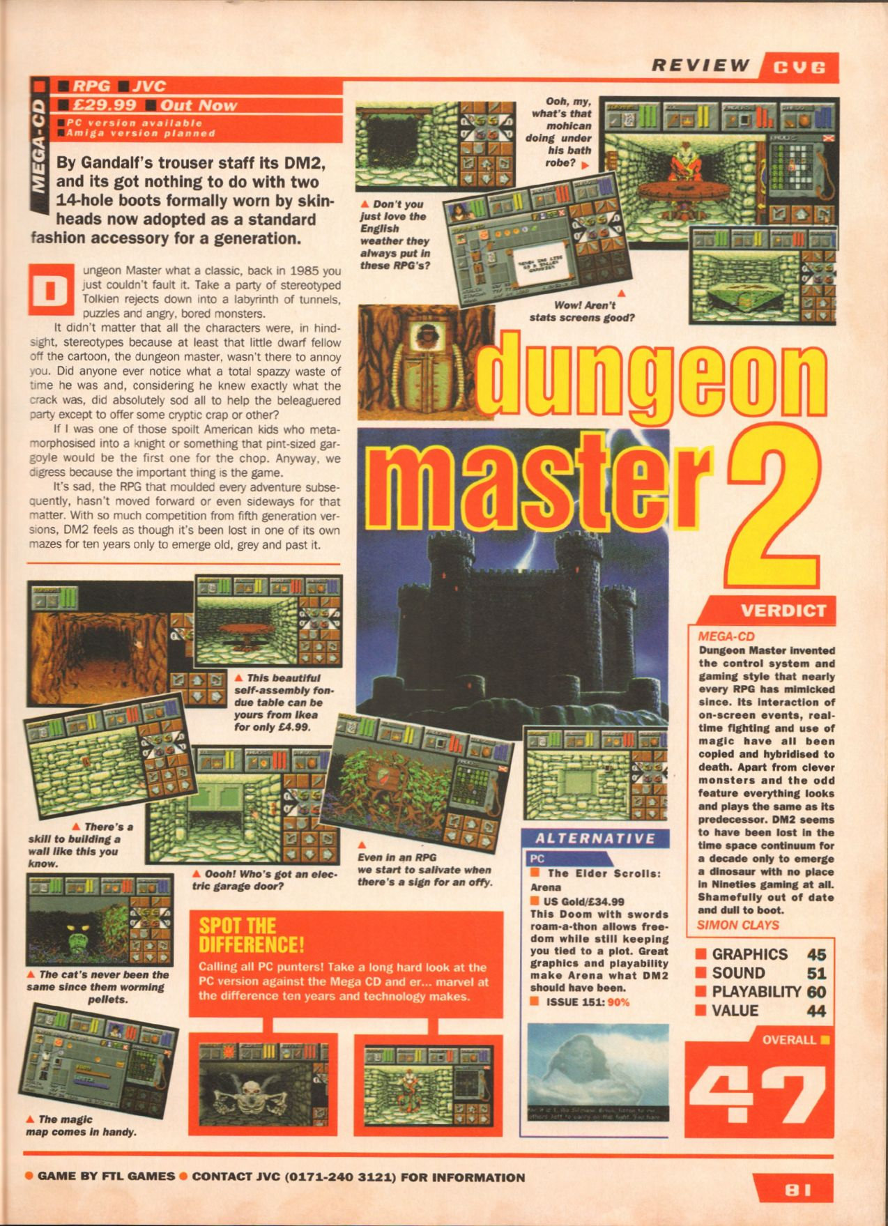 Dungeon Master II for Mega CD Review published in British magazine 'Computer And Video Games', Issue #164 July 1995, Page 81