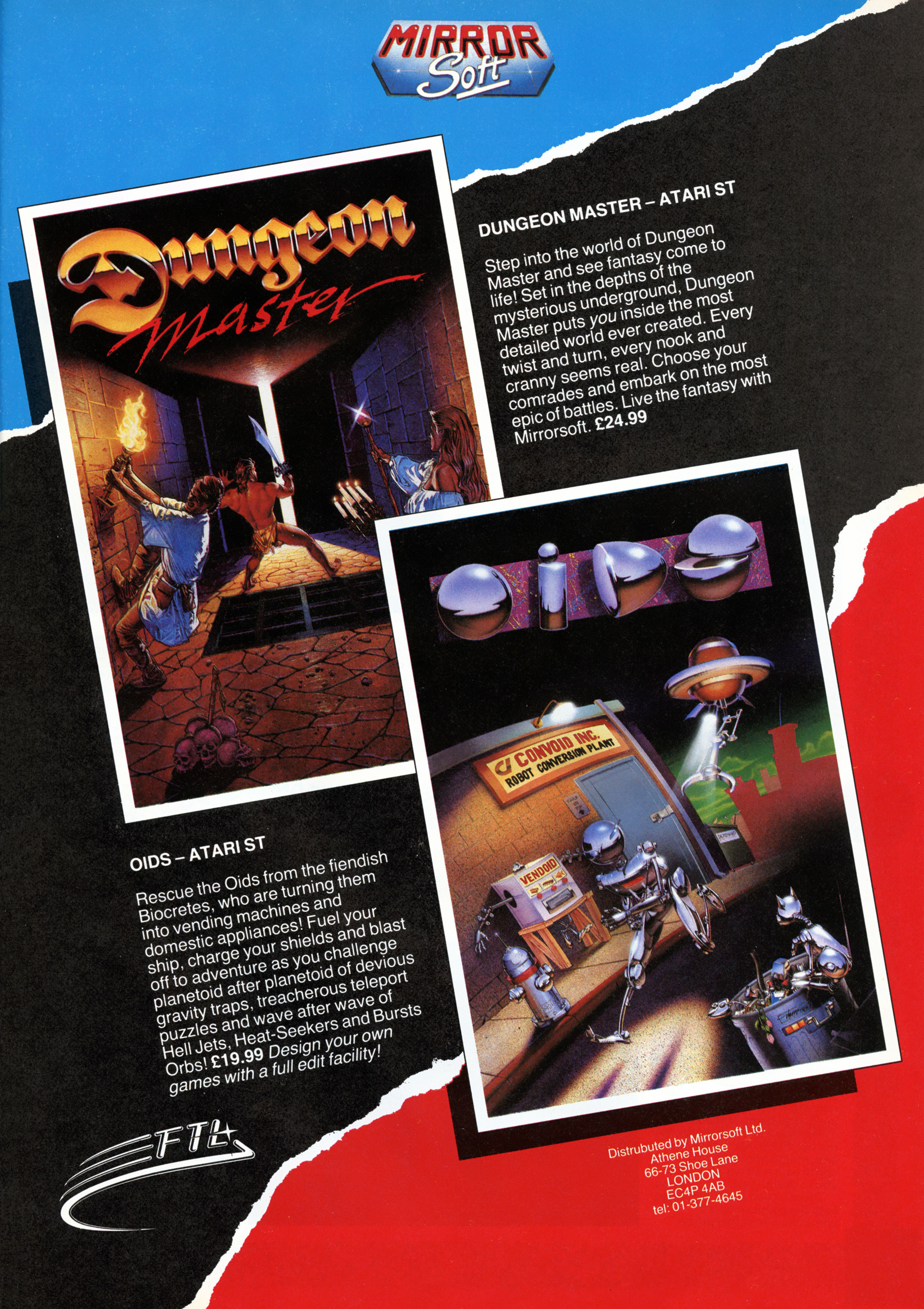 Dungeon Master for Atari ST Advertisement published in British magazine 'Computer And Video Games', Issue #77 March 1988, Page 41