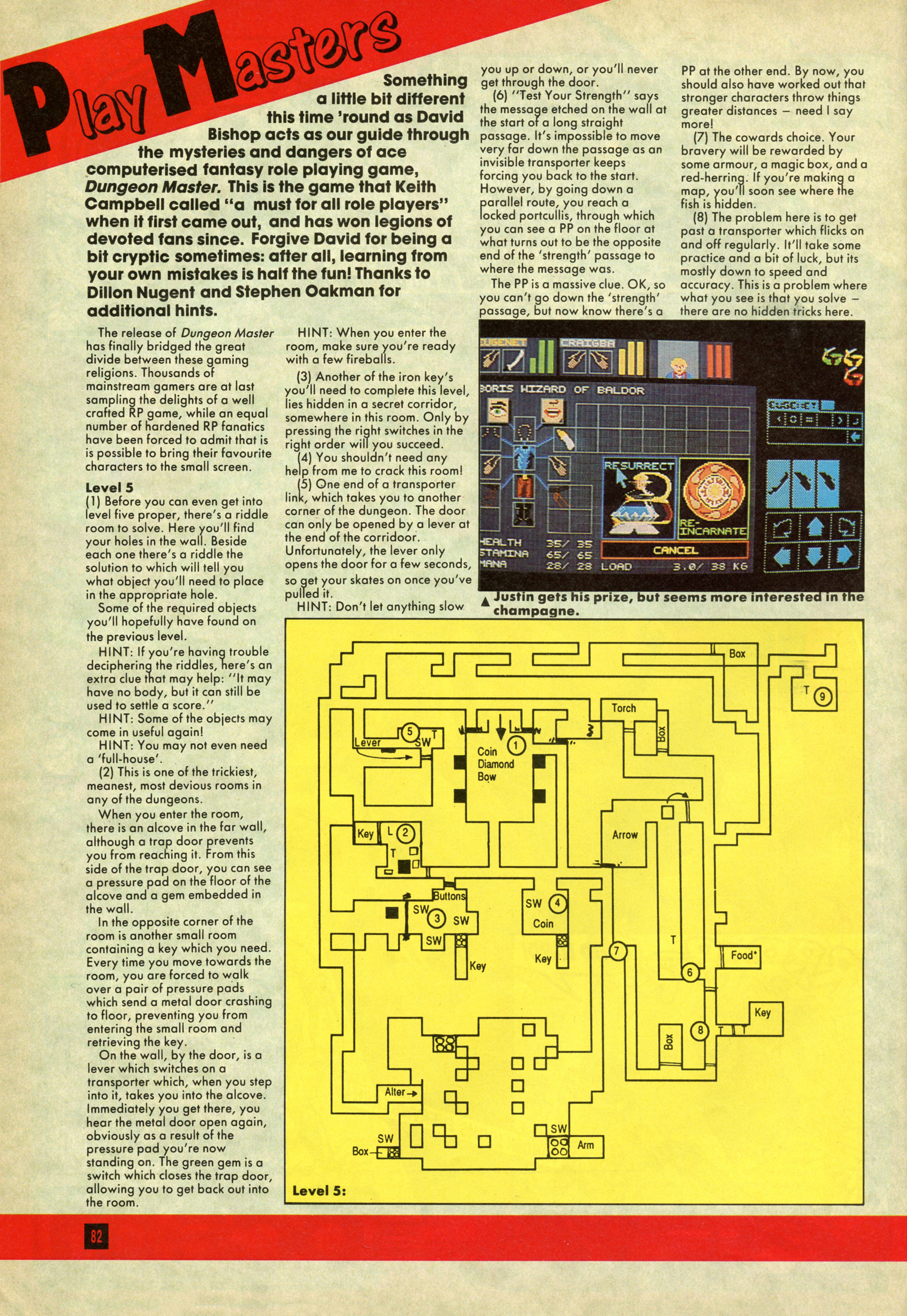 Dungeon Master Guide published in British magazine 'Computer And Video Games', Issue #81 July 1988, Page 82