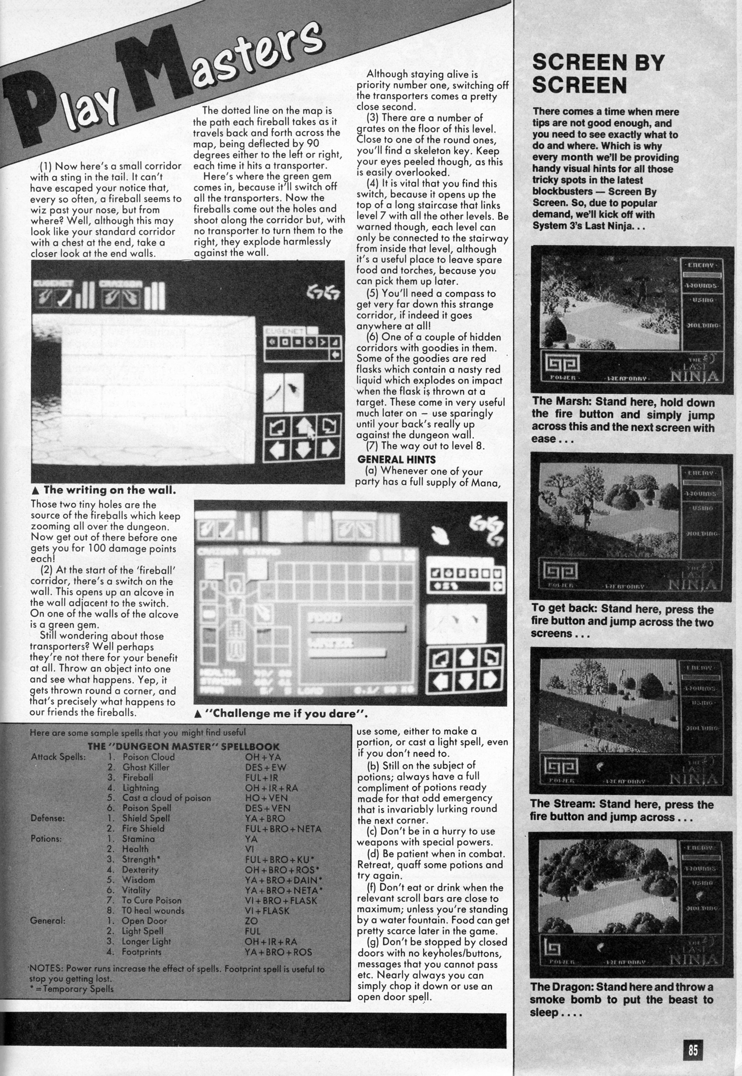 Dungeon Master Guide published in British magazine 'Computer And Video Games', Issue #81 July 1988, Page 85