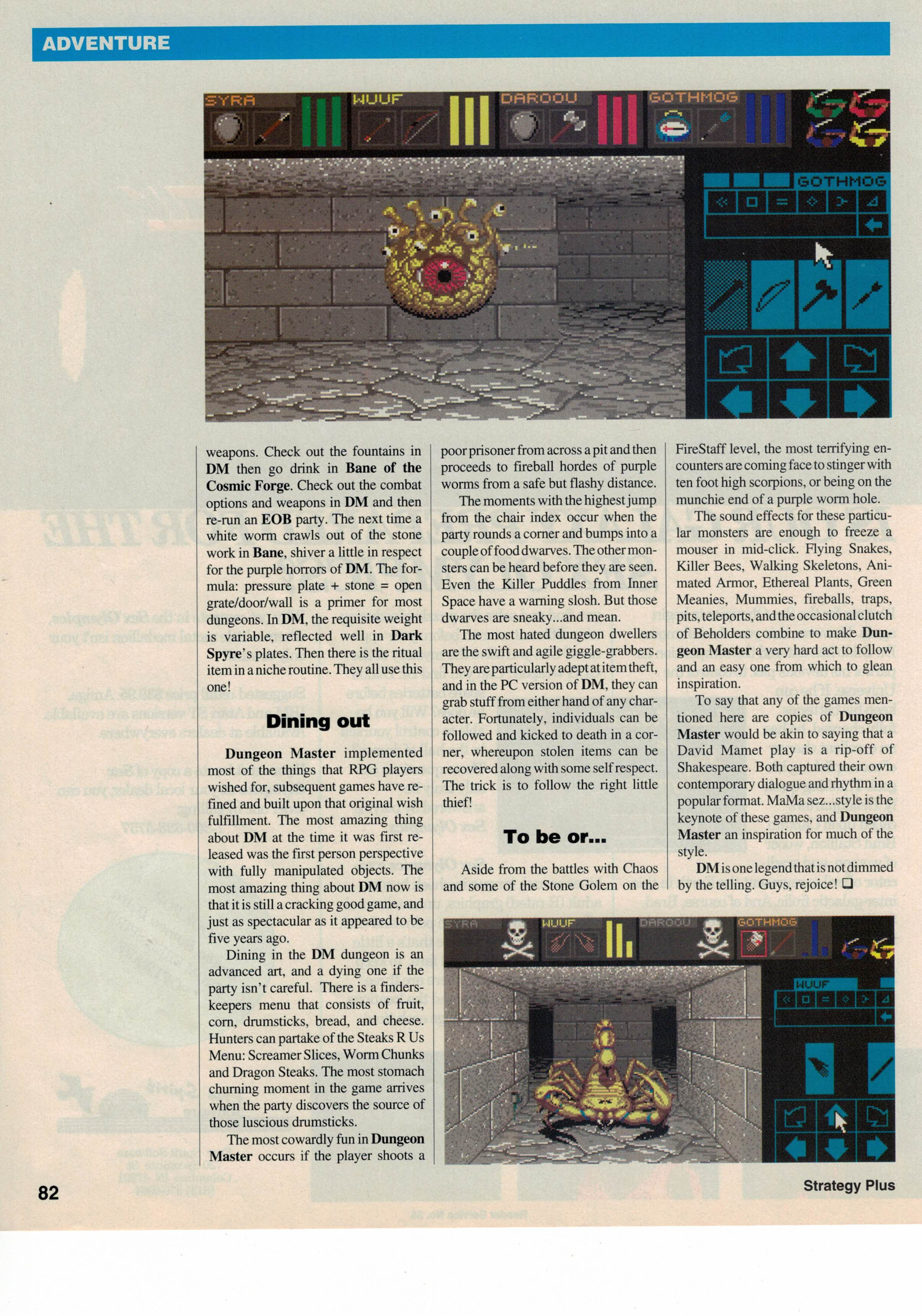 Dungeon Master for PC Review published in British-American-Canadian magazine 'Computer Games Strategy Plus', Issue #24 November 1992, Page 82