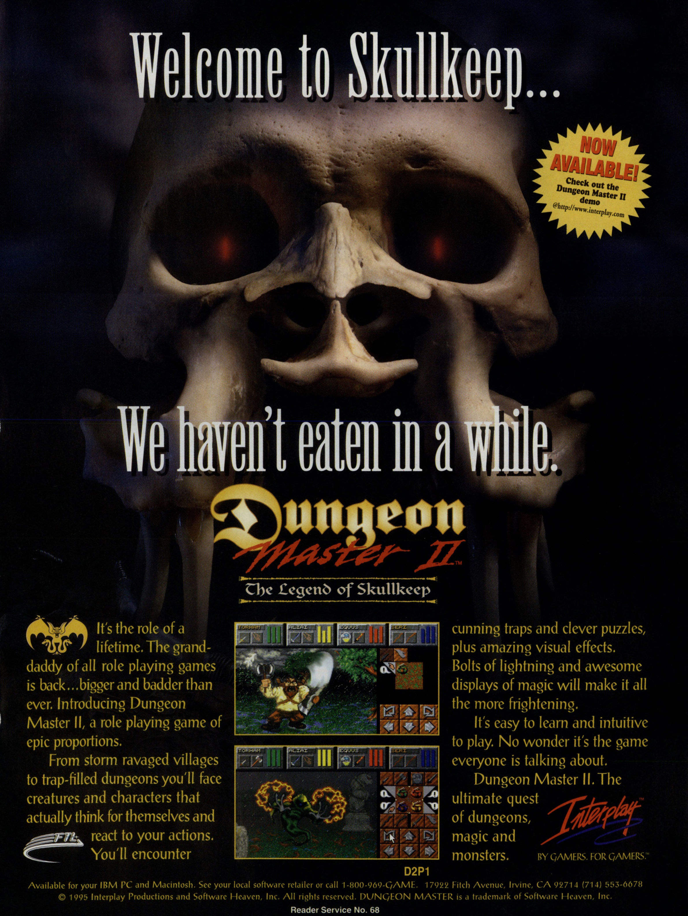 Dungeon Master II Advertisement published in British-American-Canadian magazine 'Computer Games Strategy Plus', Issue #60 November 1995, Page 67